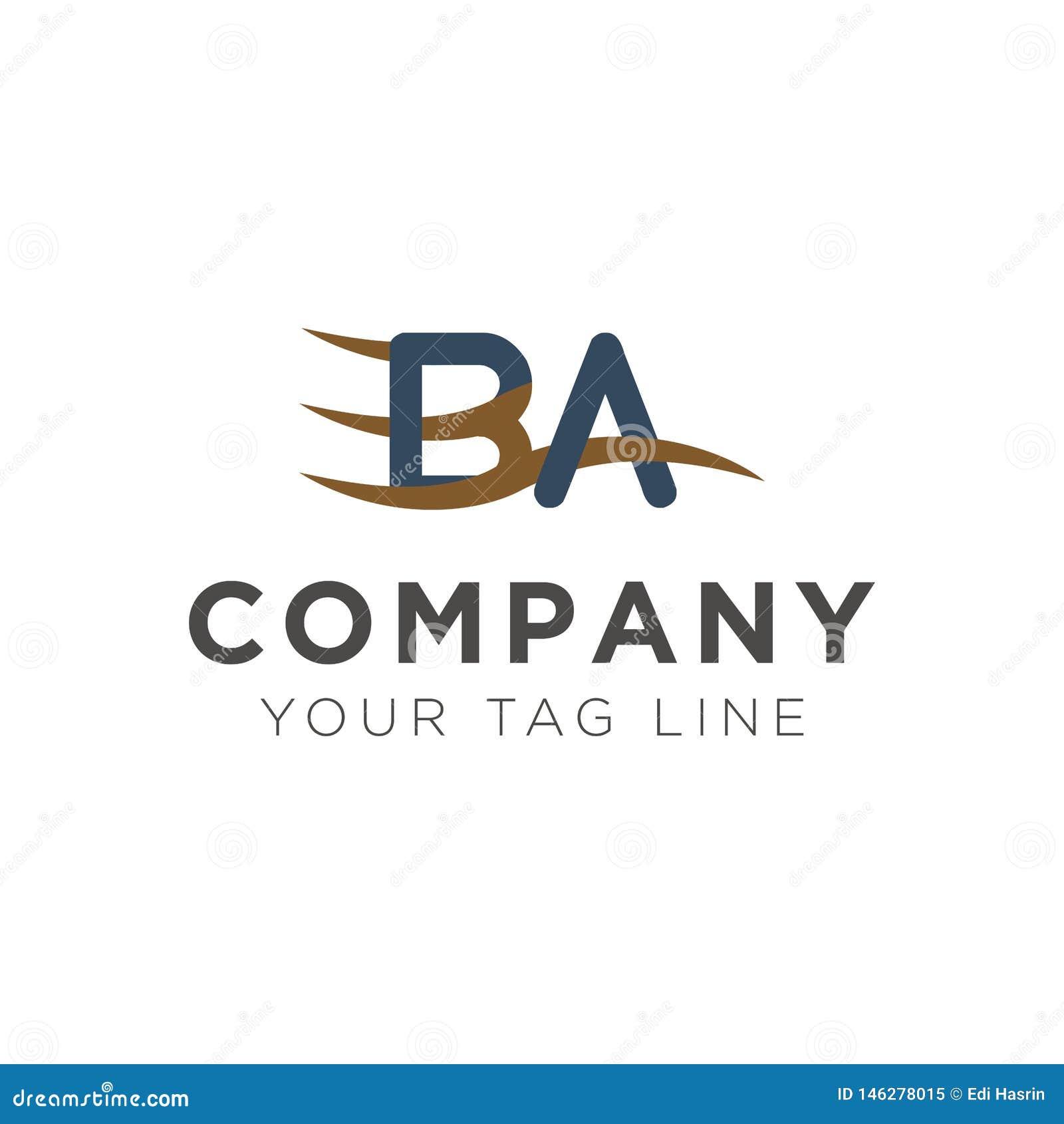 Шаблон логотипа письма БА с элементами волны