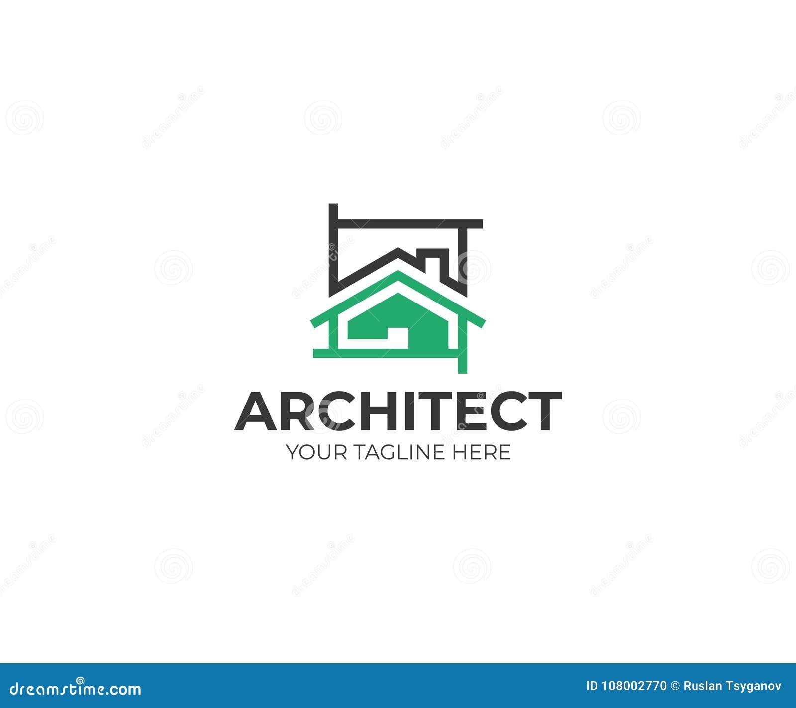 Шаблон логотипа эскиза архитектуры Дизайн вектора проекта дома