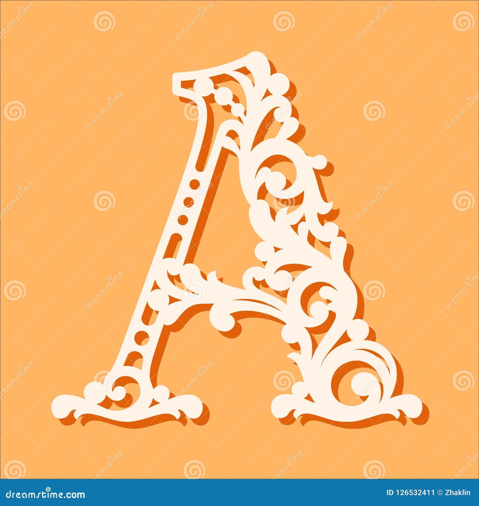 Шаблон отрезка лазера Начальные письма вензеля Причудливое флористическое письмо алфавита
