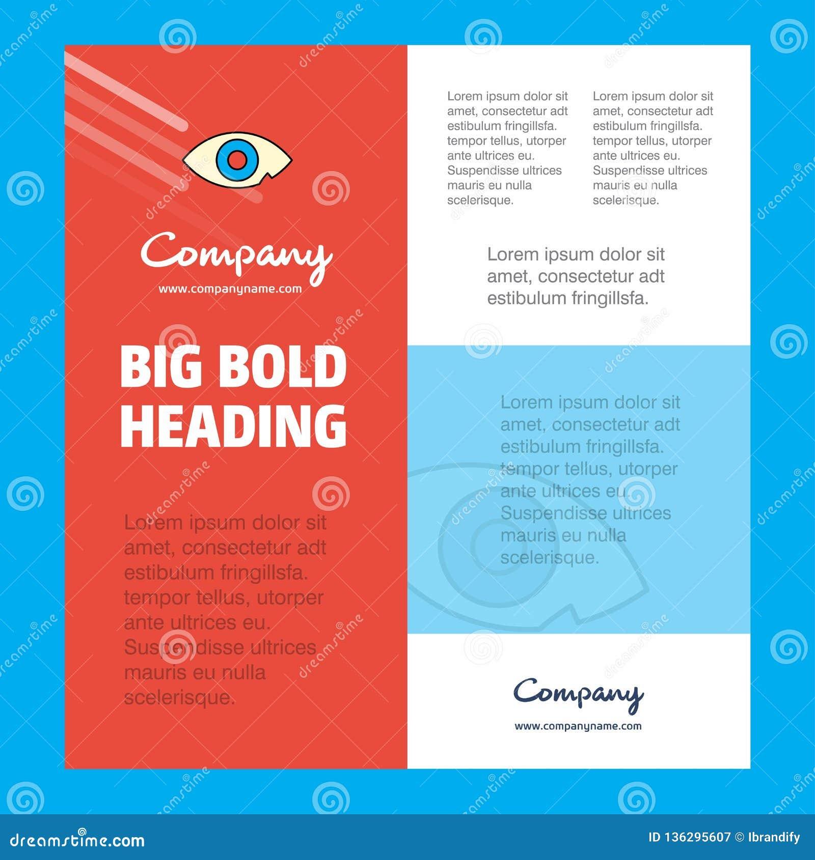 Шаблон плаката деловой компании глаза с местом для текста и изображений Предпосылка вектора