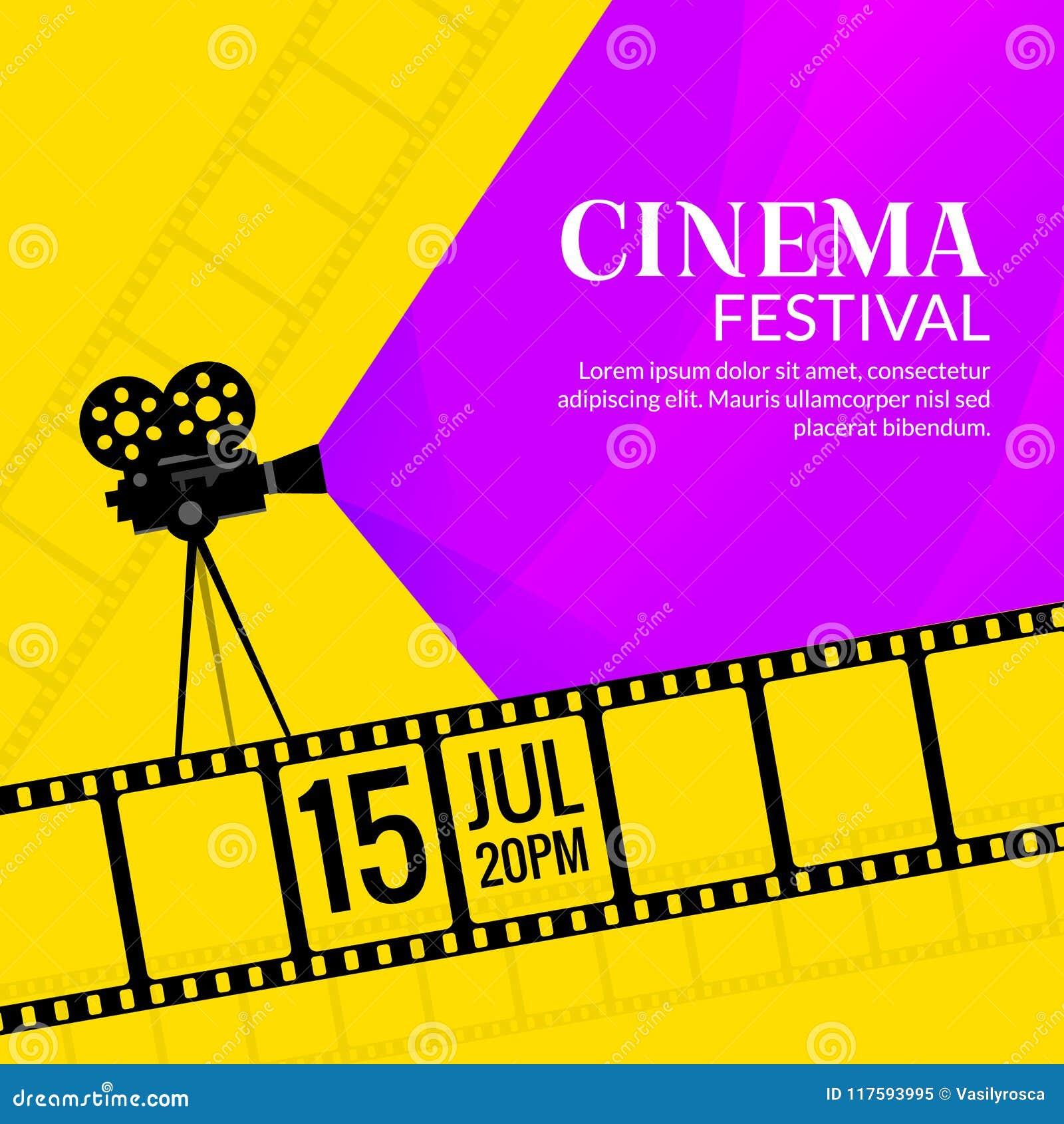 Шаблон плаката фестиваля кино Предпосылка дизайна фестиваля рогульки фильма или кино