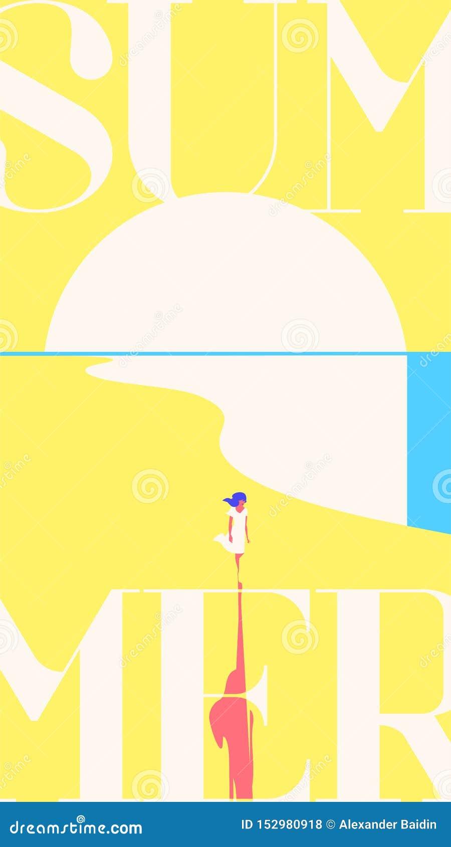 Шаблон рассказов летнего отпуска и летнего лагеря Заход солнца моря, девушка идя на пляж r