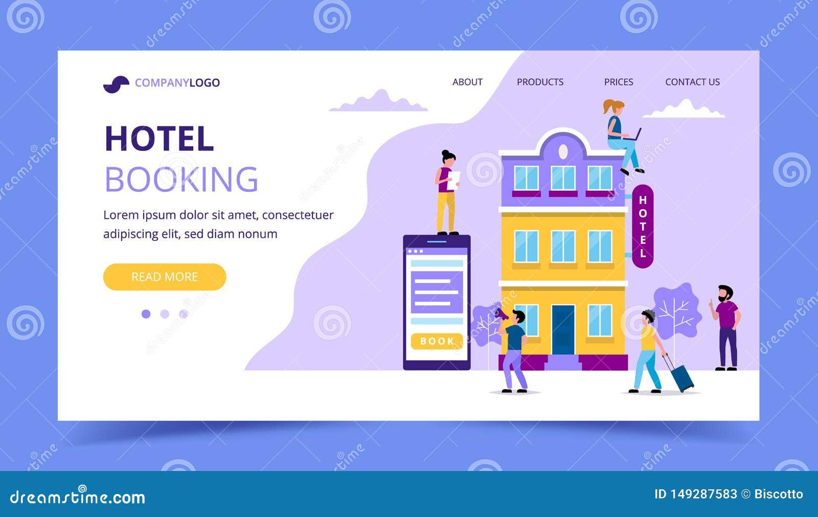 Шаблон страницы бронирования гостиниц приземляясь - иллюстрация с небольшими людьми делая различные задачи резервирование, онлайн