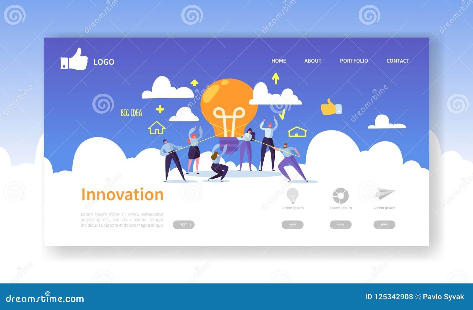 Шаблон страницы посадки развития вебсайта Передвижной план применения при плоские бизнесмены держа электрические лампочки