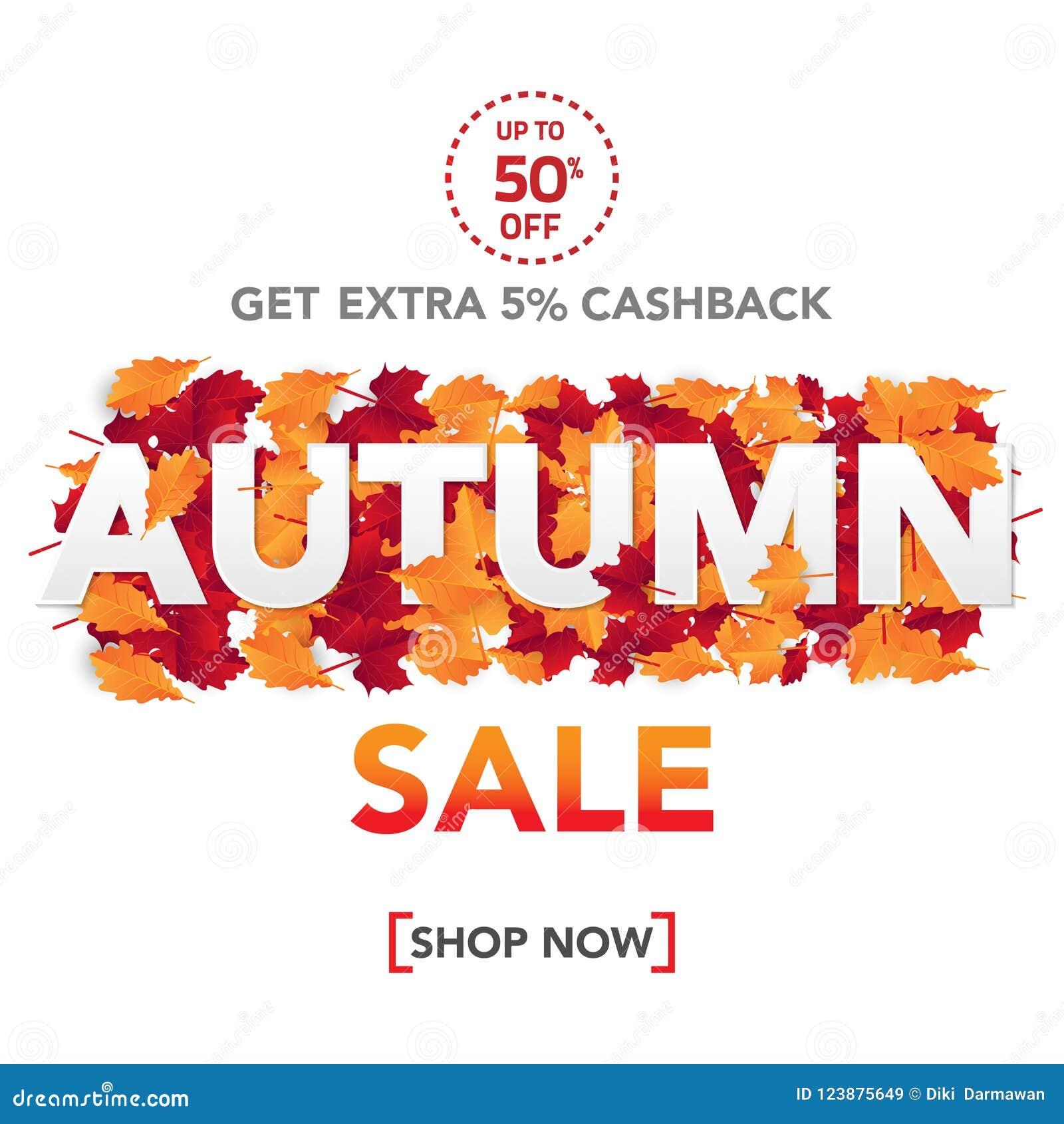 Шаблон с листьями, падение знамени продажи осени выходит для ходя по магазинам продажи Дизайн знамени Плакат, карточка, ярлык, зн