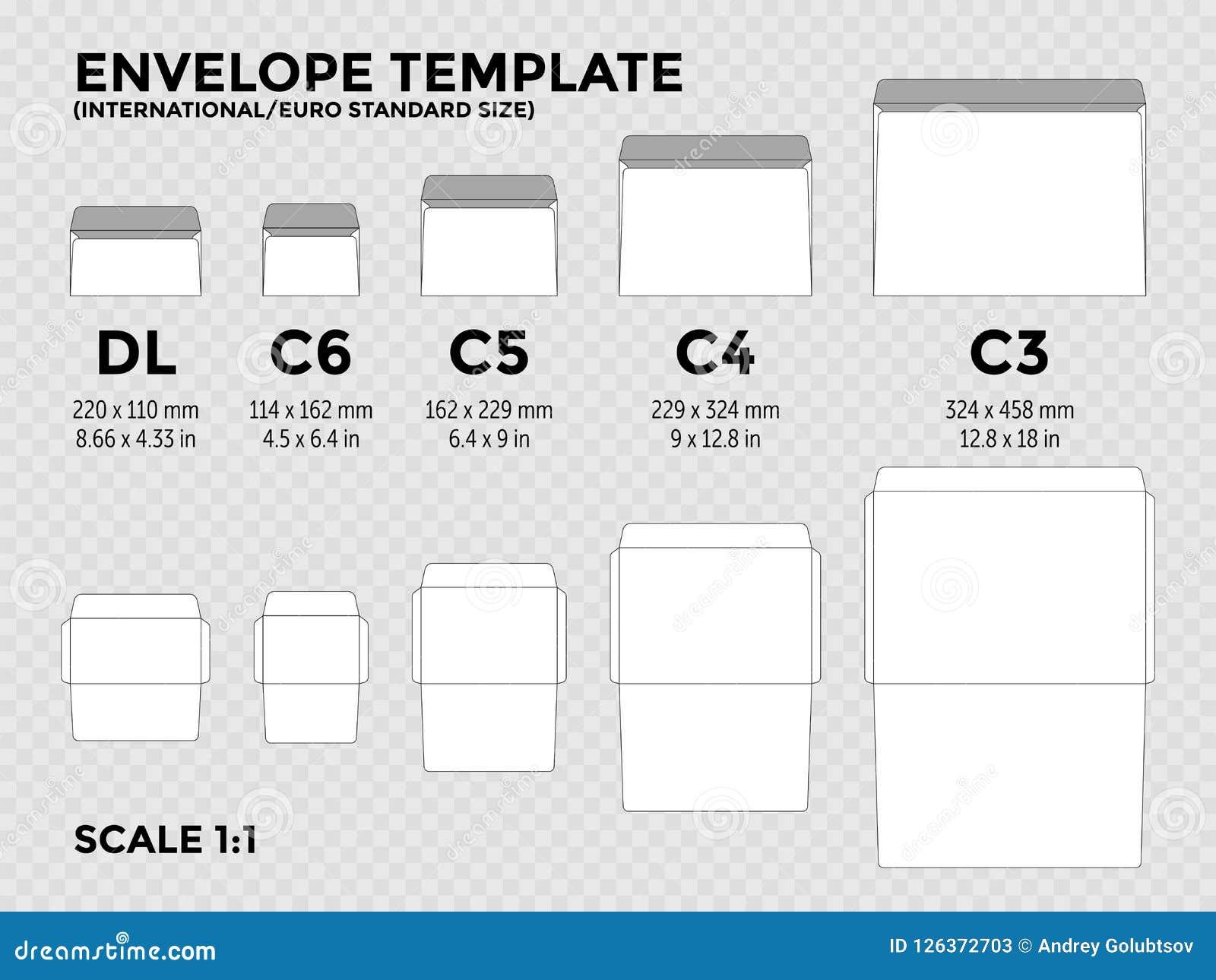 Шаблон с international, нормальные размеры c6 конверта евро, c5, c4, c3 для сложенного a4, бумаги a5 с линиями отрезка