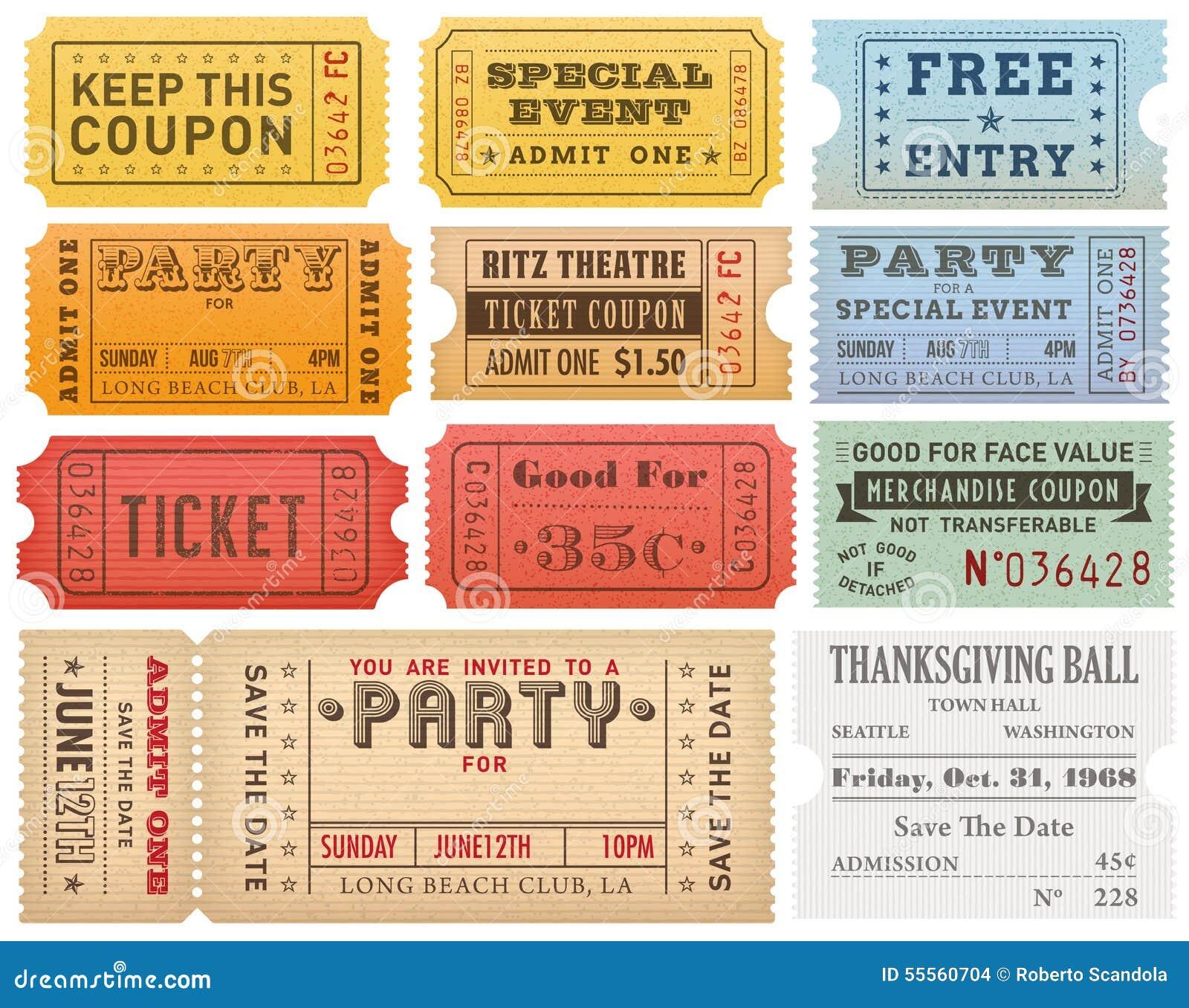 Шаблоны билетов Grunge вектора красочные