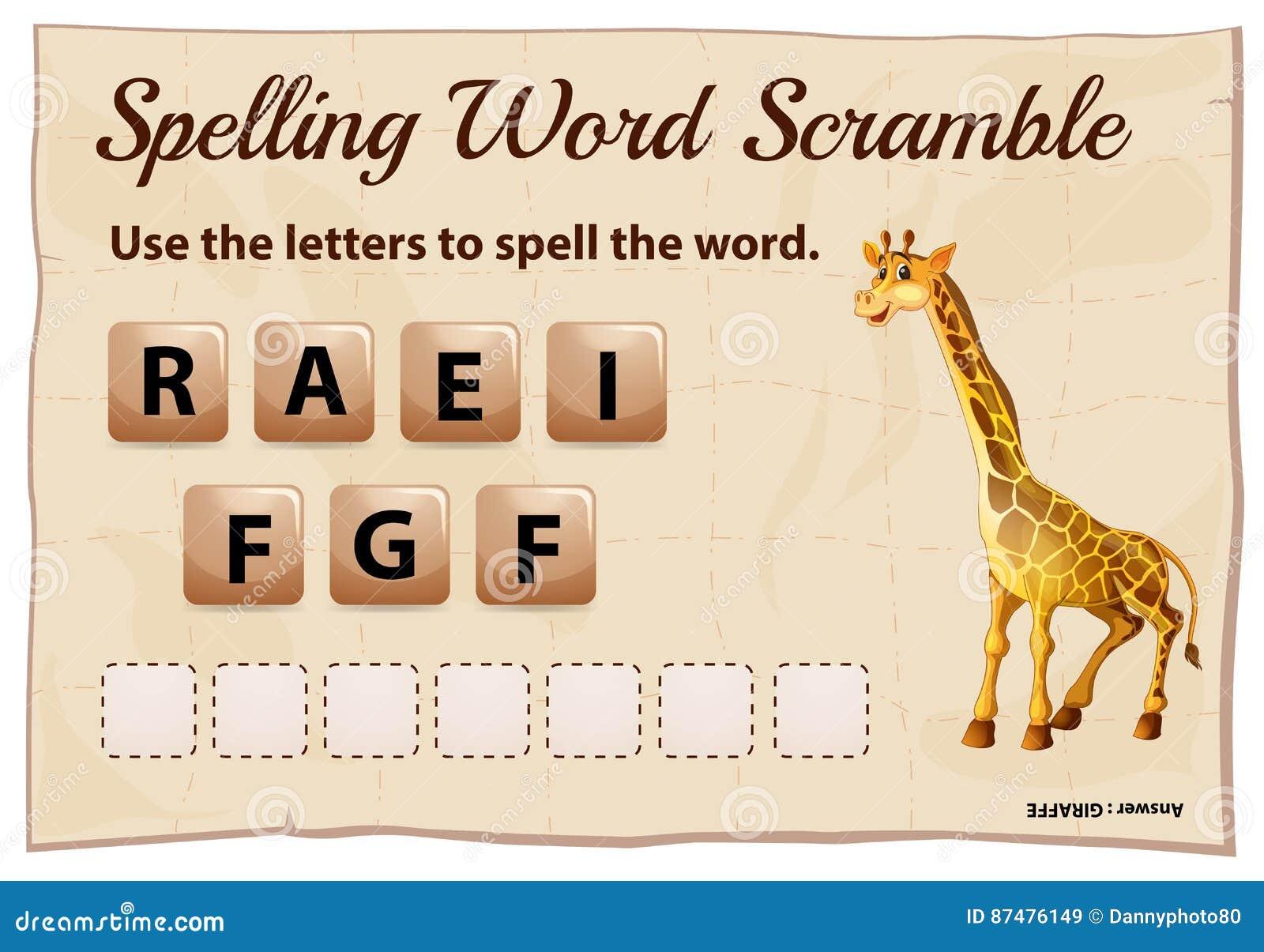 Шаблон борьбы слова правописания с жирафом слова