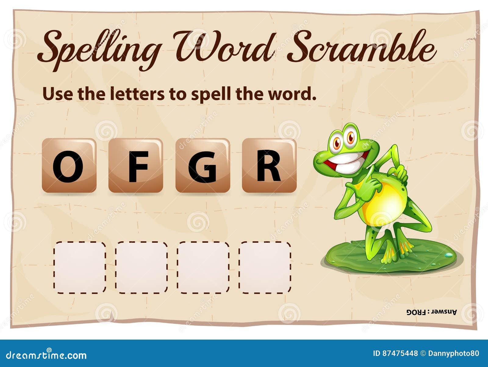 Шаблон борьбы слова правописания с лягушкой слова