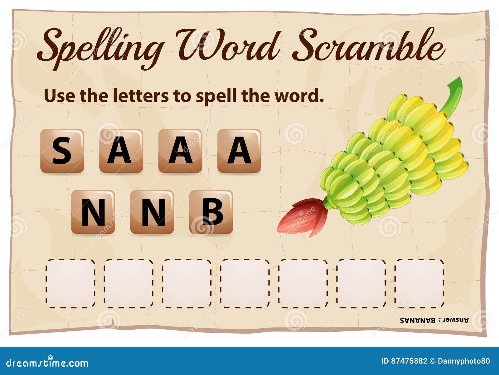 Шаблон борьбы слова правописания для бананов слова