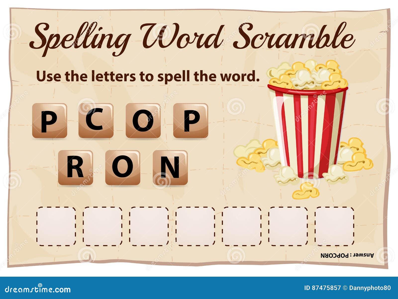 Шаблон борьбы слова правописания для попкорна слова