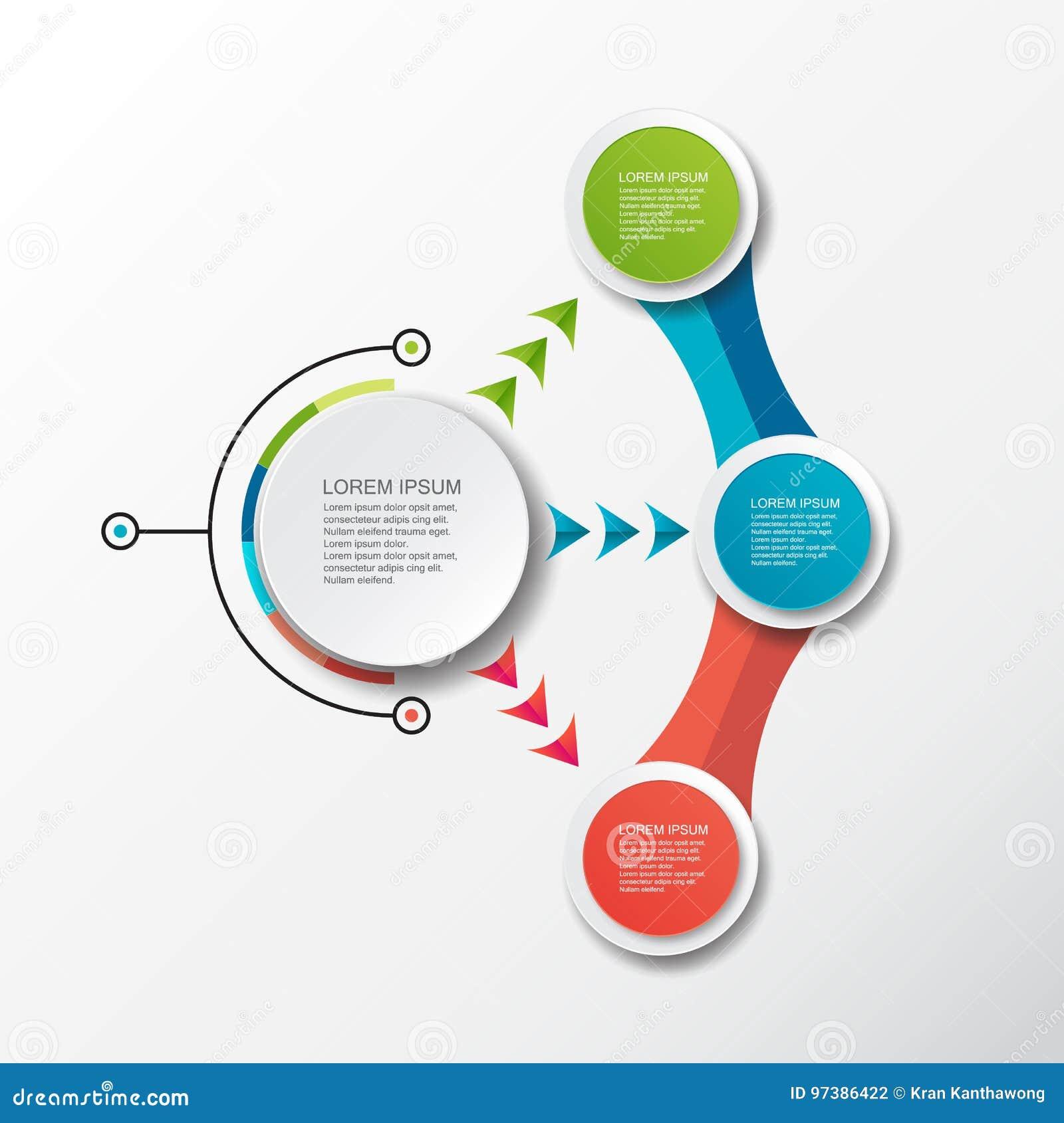 Шаблон вектора infographic с ярлыком бумаги 3D, интегрированными кругами Смогите быть использовано для плана потока операций, диа
