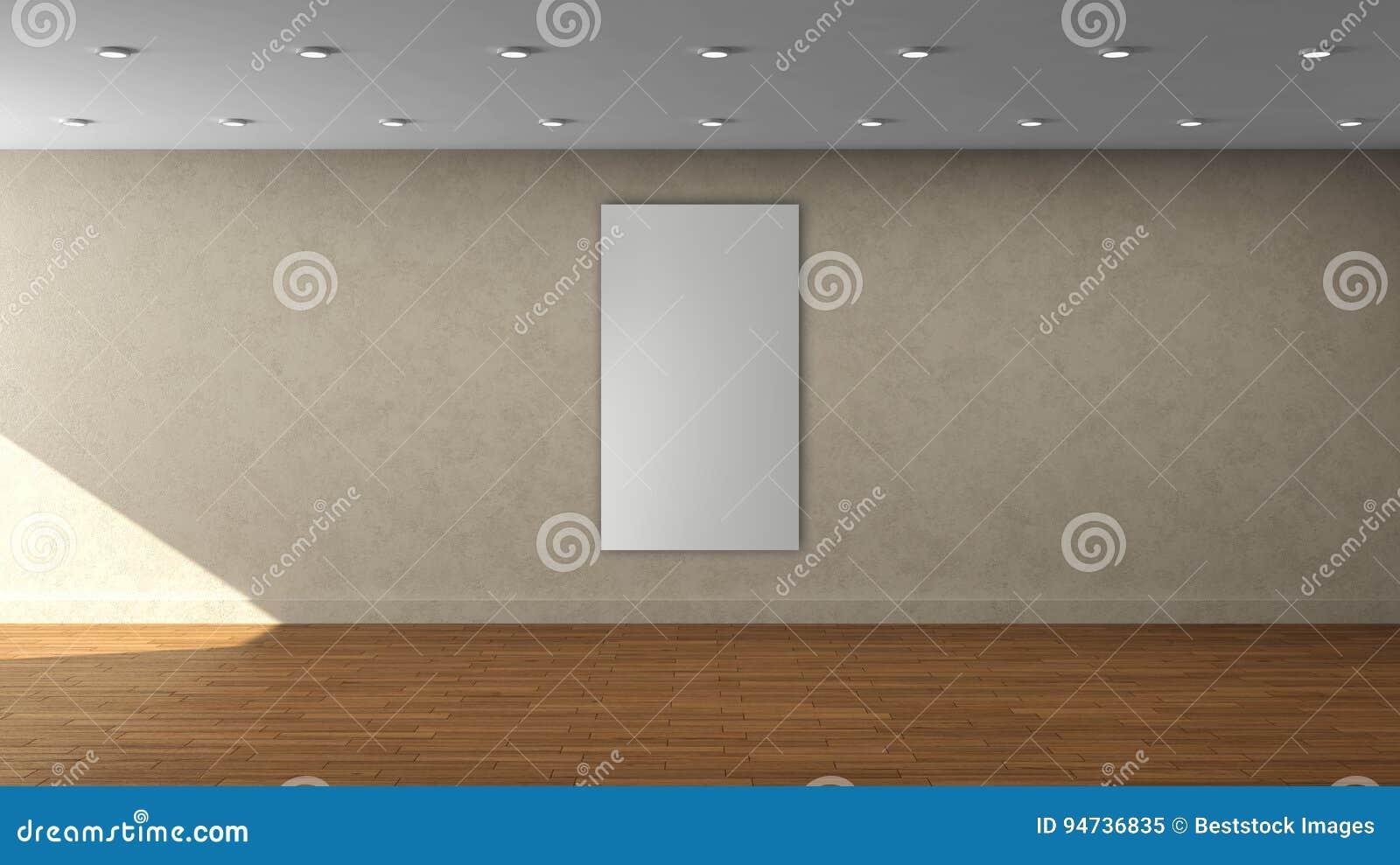 Шаблон высокой стены разрешения бежевой пустой внутренний с рамкой одиночного белого цвета вертикальной на передней стене