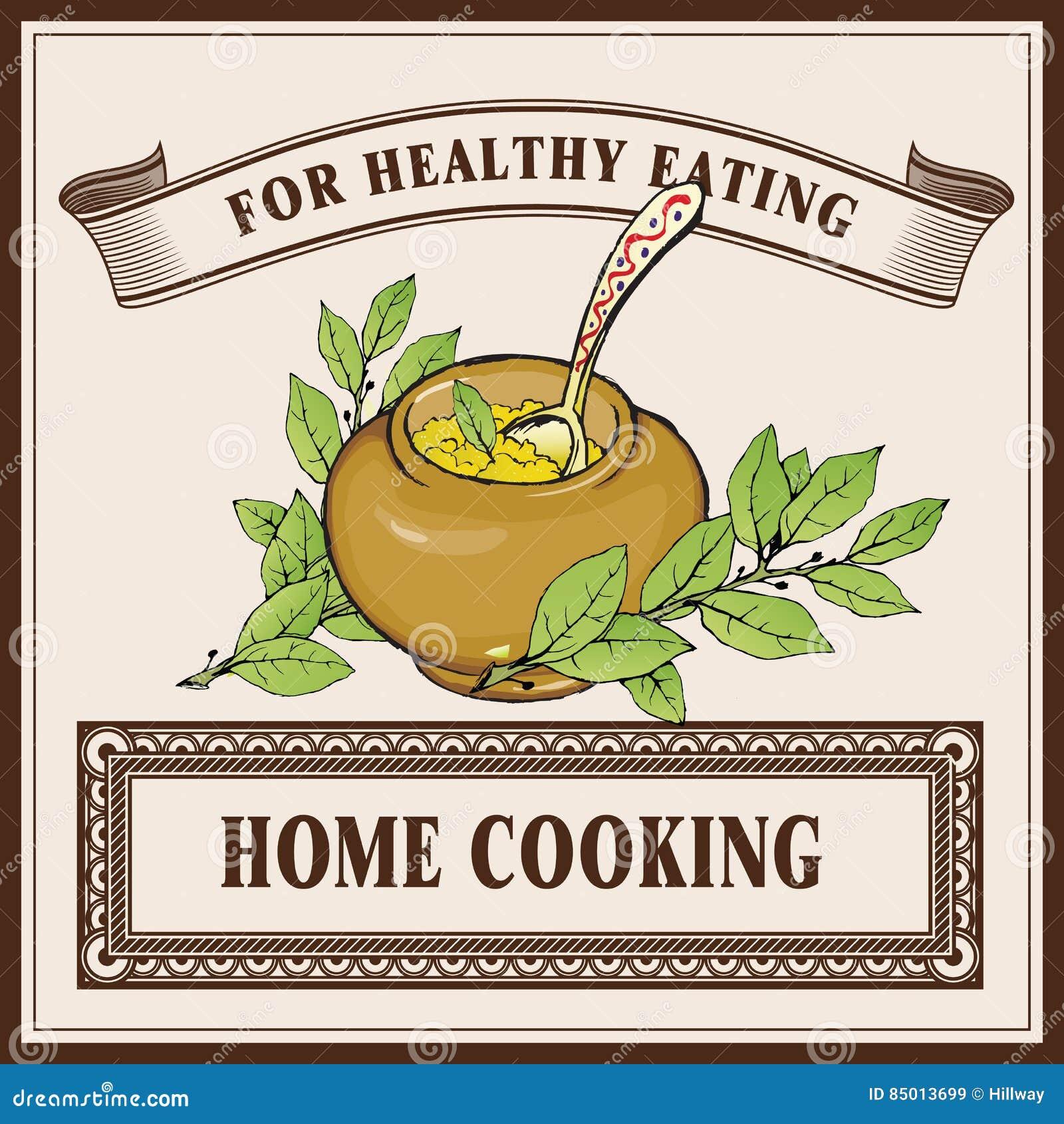 Шаблон знамени логотипа домашней кухни Каша в керамическом баке