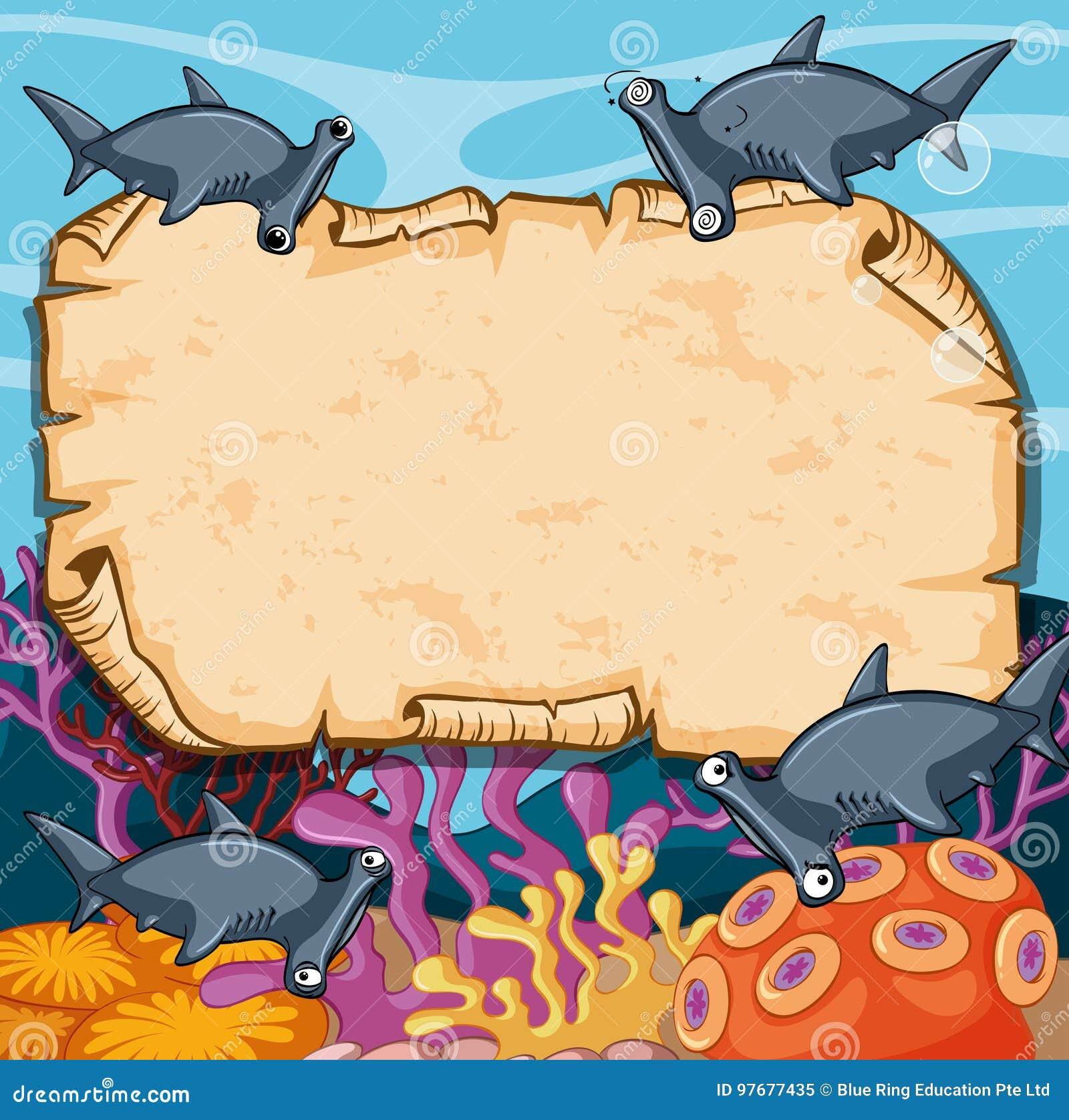 Шаблон знамени с акулами молота