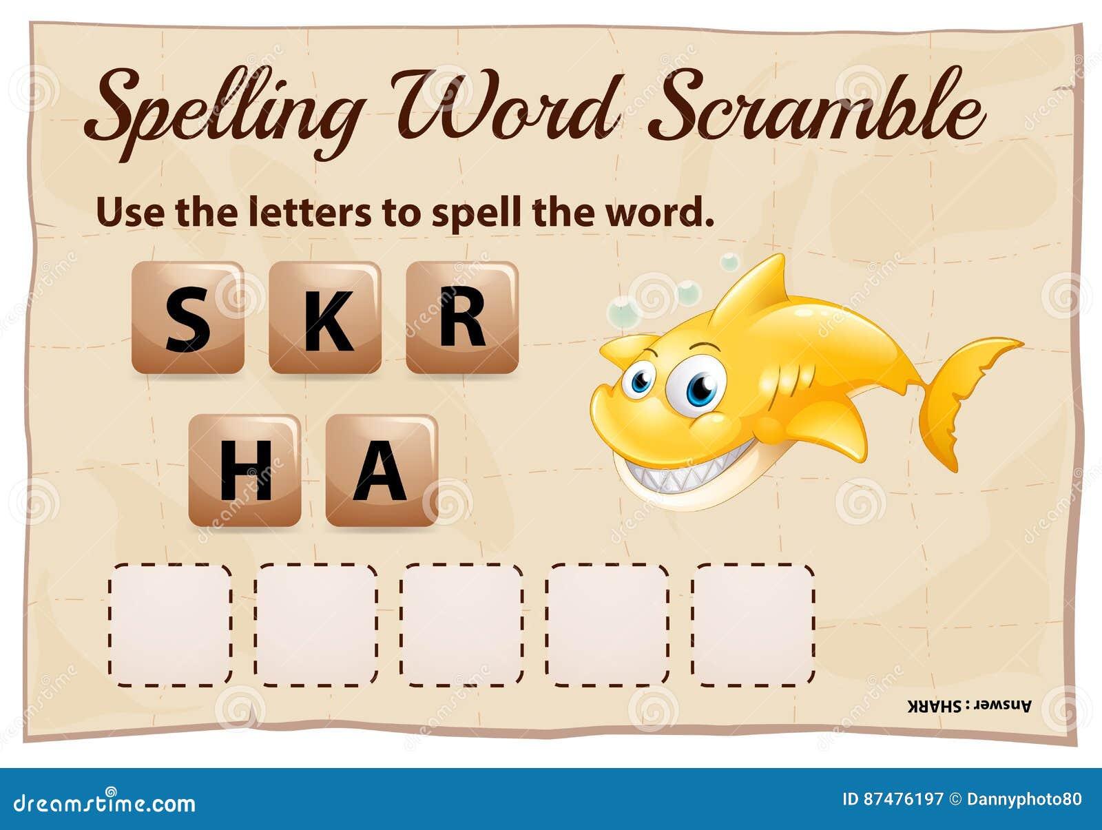 Шаблон игры борьбы слова правописания для акулы