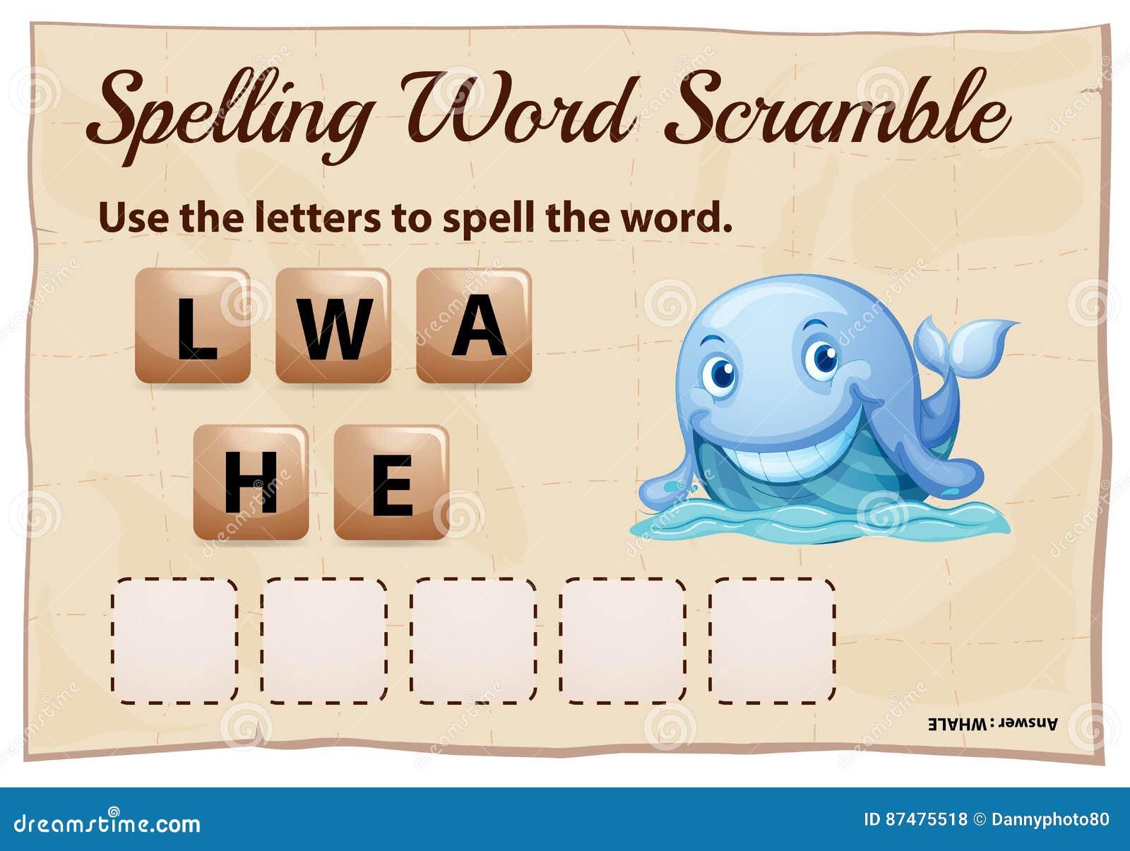 Шаблон игры борьбы слова правописания для кита