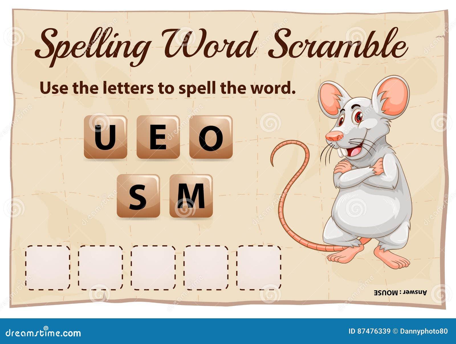 Шаблон игры борьбы слова правописания для мыши