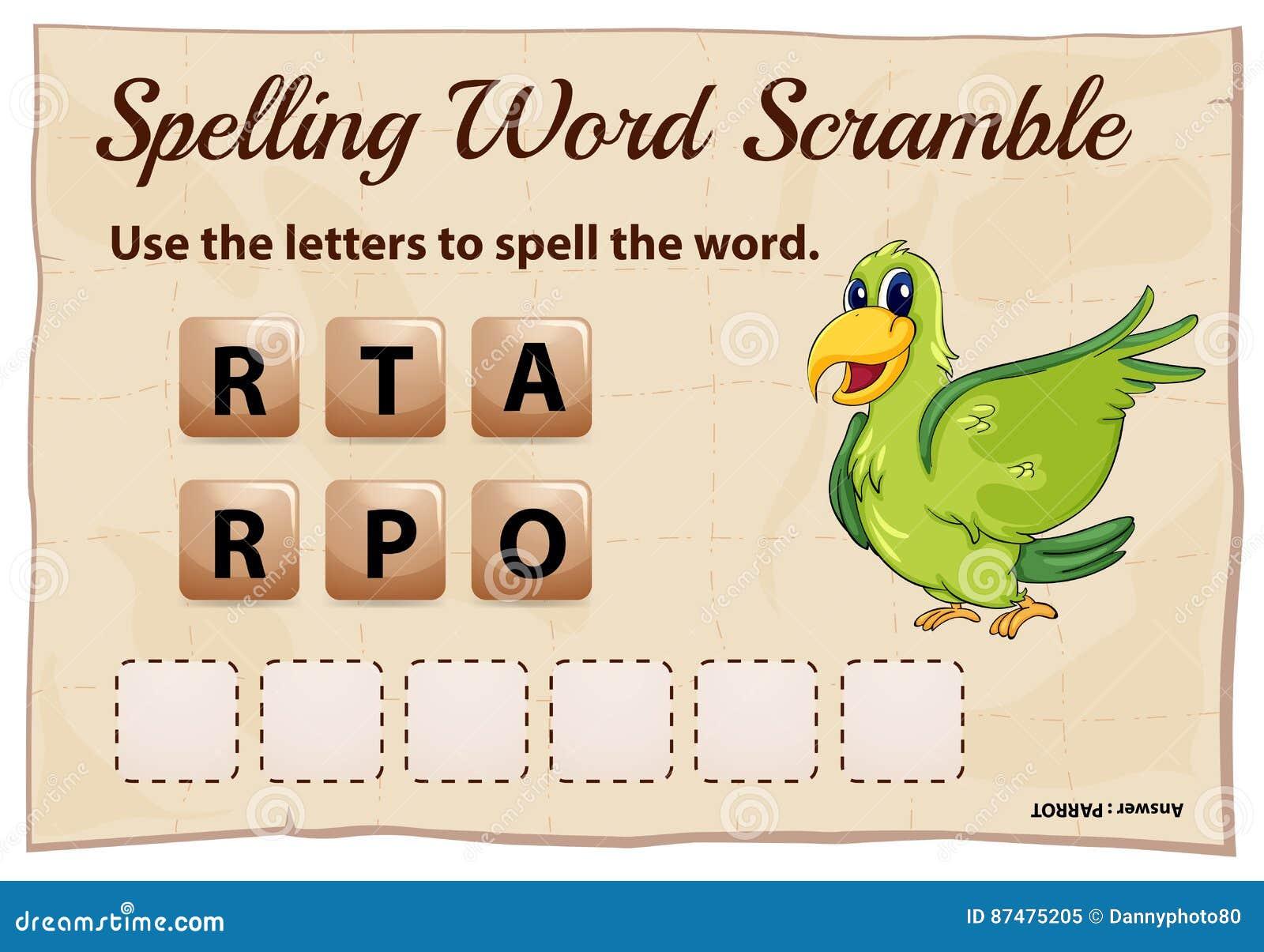 Шаблон игры борьбы слова правописания для попугая