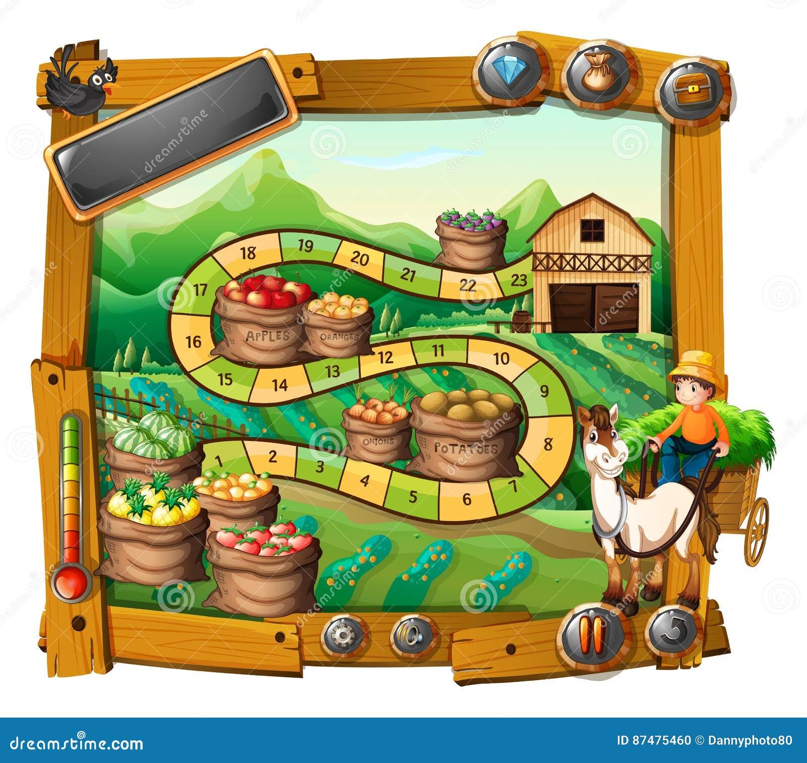 Шаблон игры с фермером и предпосылкой урожаев