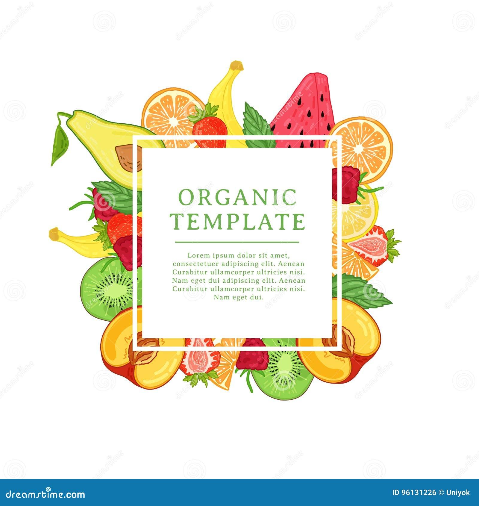 Шаблон дизайна знамени с украшением тропического плодоовощ Квадратная рамка с оформлением здорового, сочного плодоовощ Карточка с