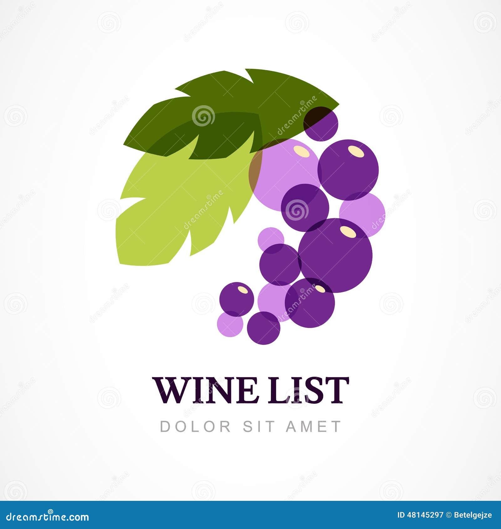 Шаблон дизайна логотипа вектора Ветвь виноградины с листьями