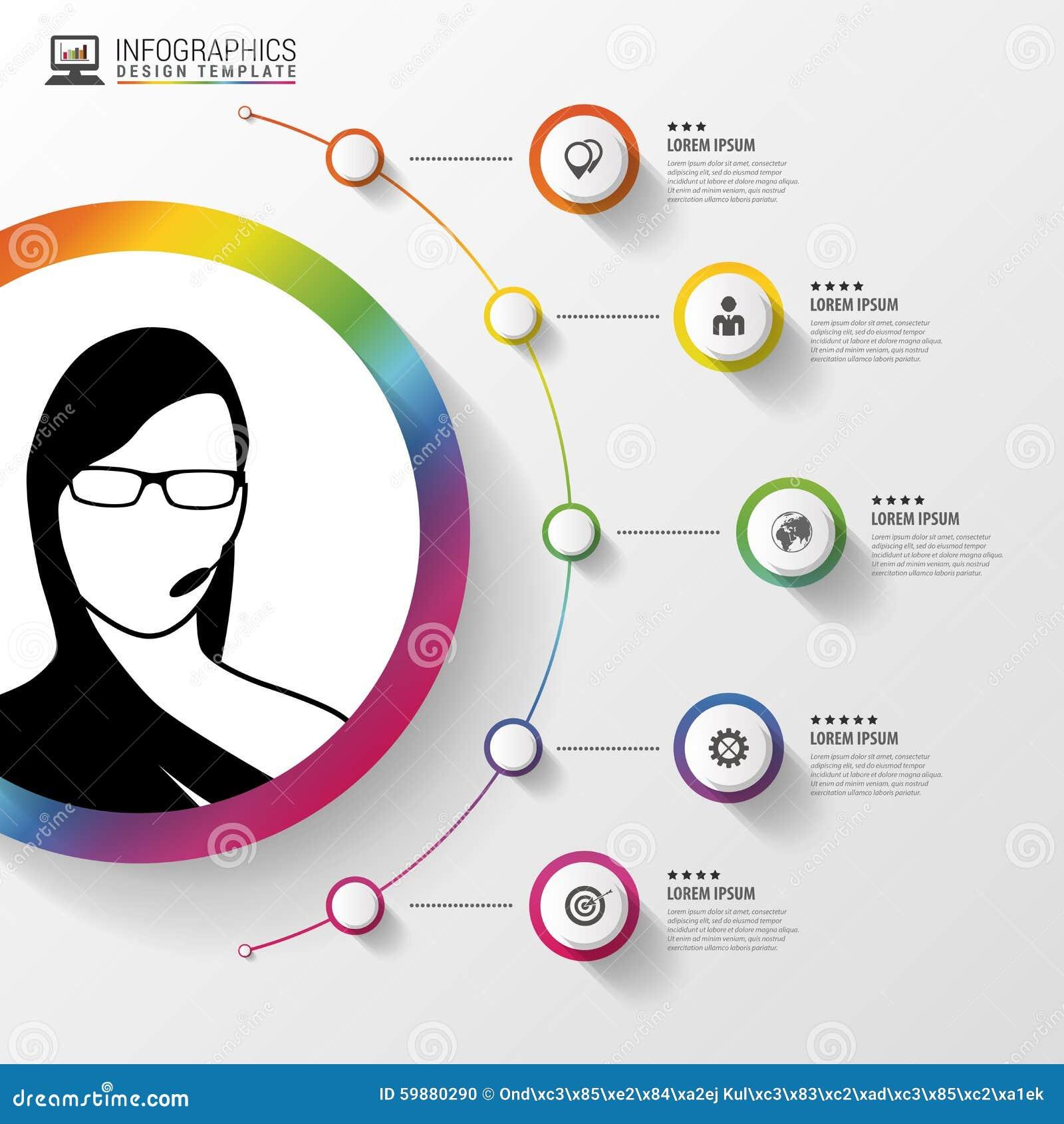 Шаблон дизайна Infographic Женщина с наушниками Красочный круг с значками также вектор иллюстрации притяжки corel