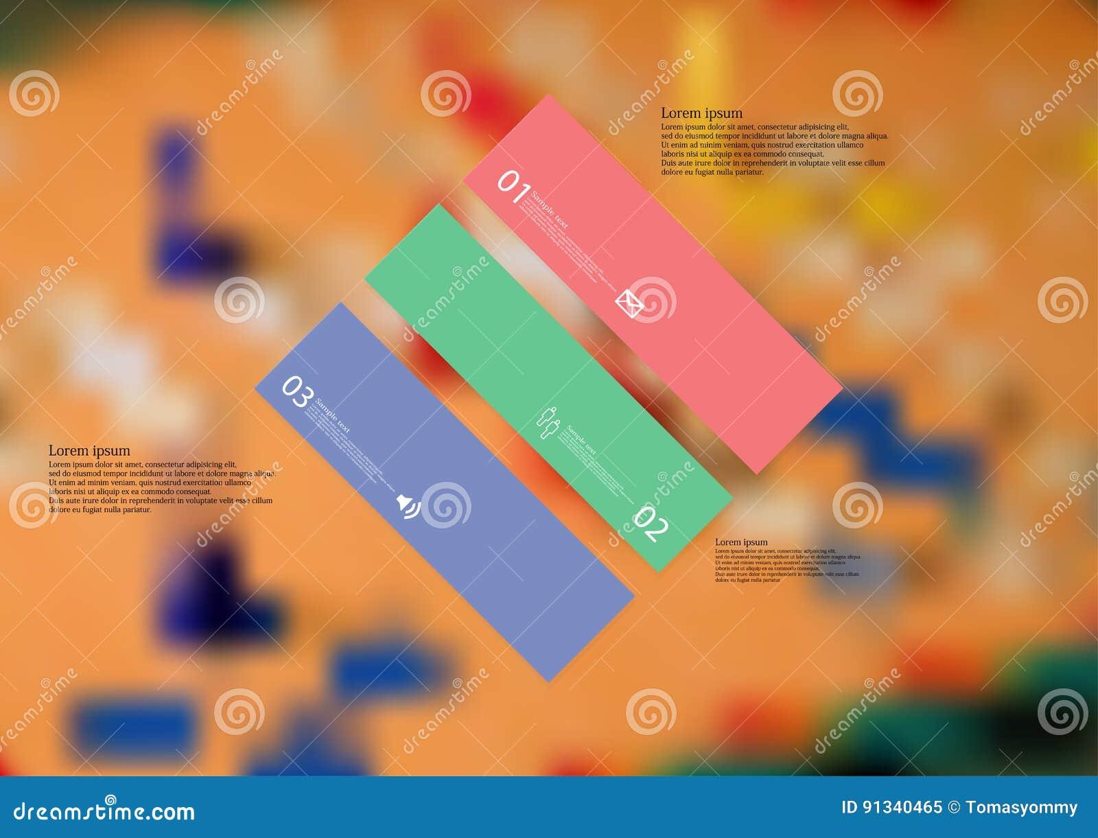 Шаблон иллюстрации infographic при косоугольник криво разделенный до 3 автономных части цвета