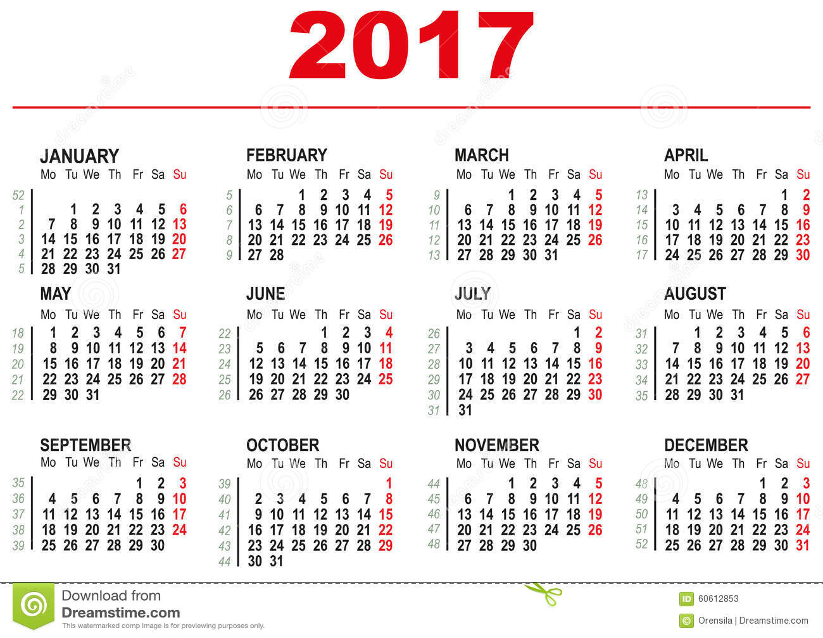 6 week calendar template