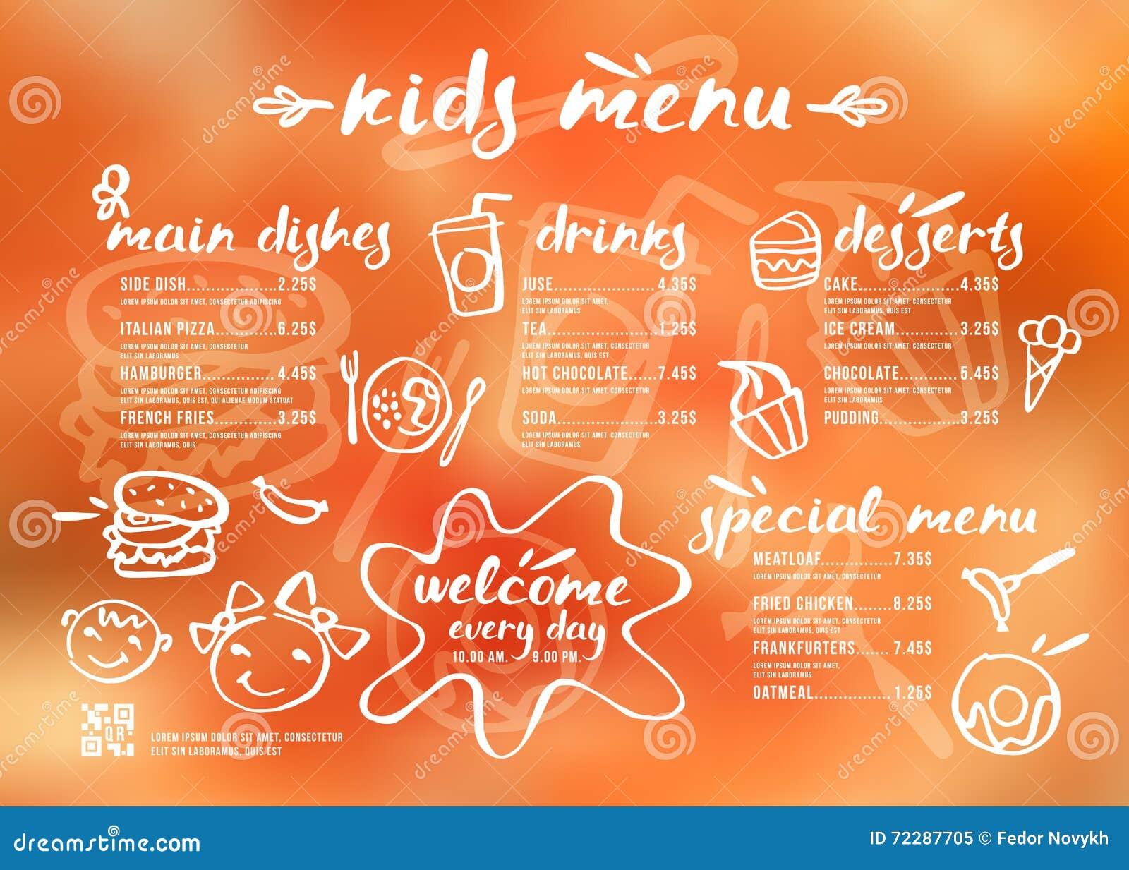 Download Шаблон меню детей с литерностью и значками Иллюстрация вектора - иллюстрации насчитывающей запачканный, пить: 72287705