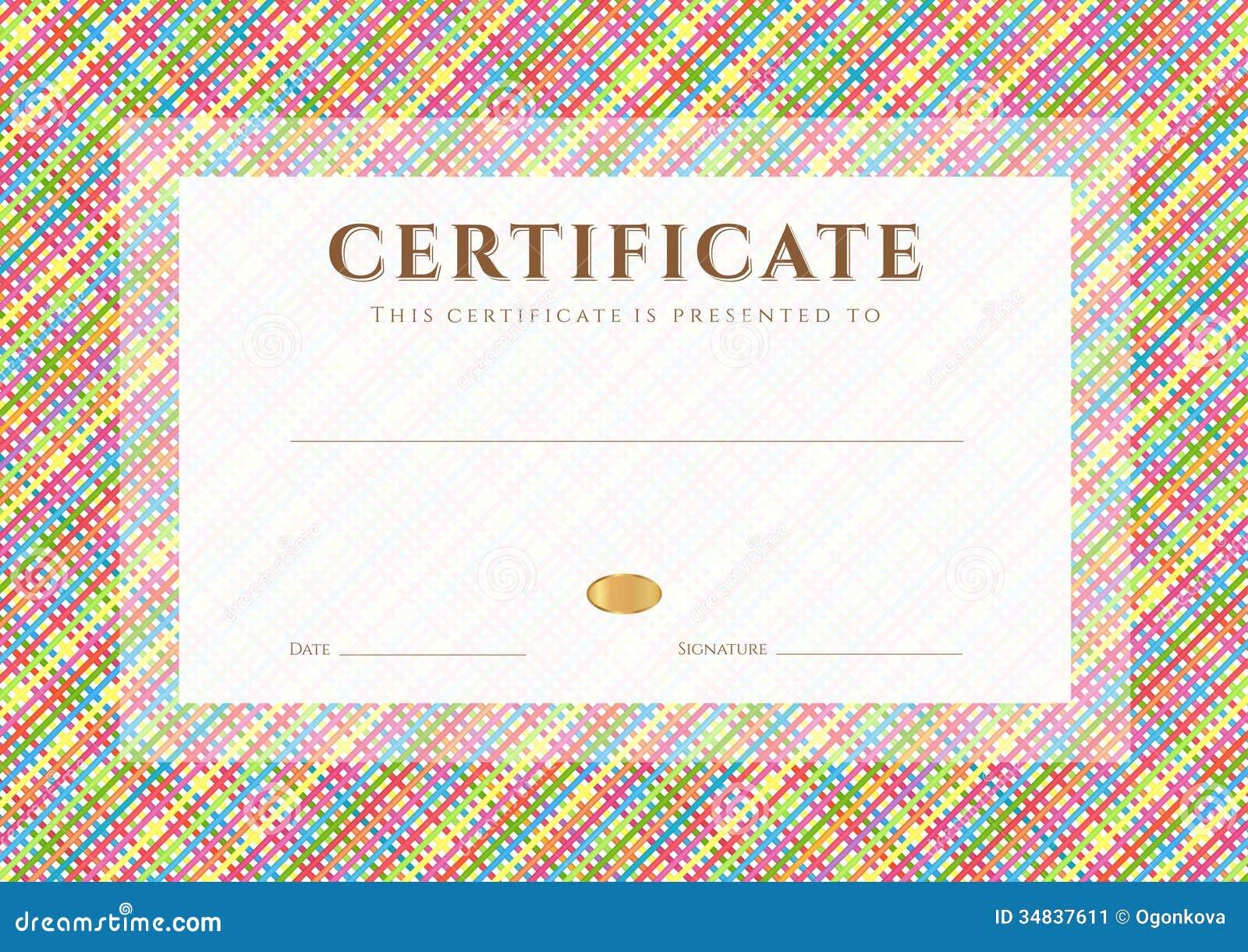 Шаблон награды сертификата диплома Картина Иллюстрация вектора  Шаблон награды сертификата диплома Картина