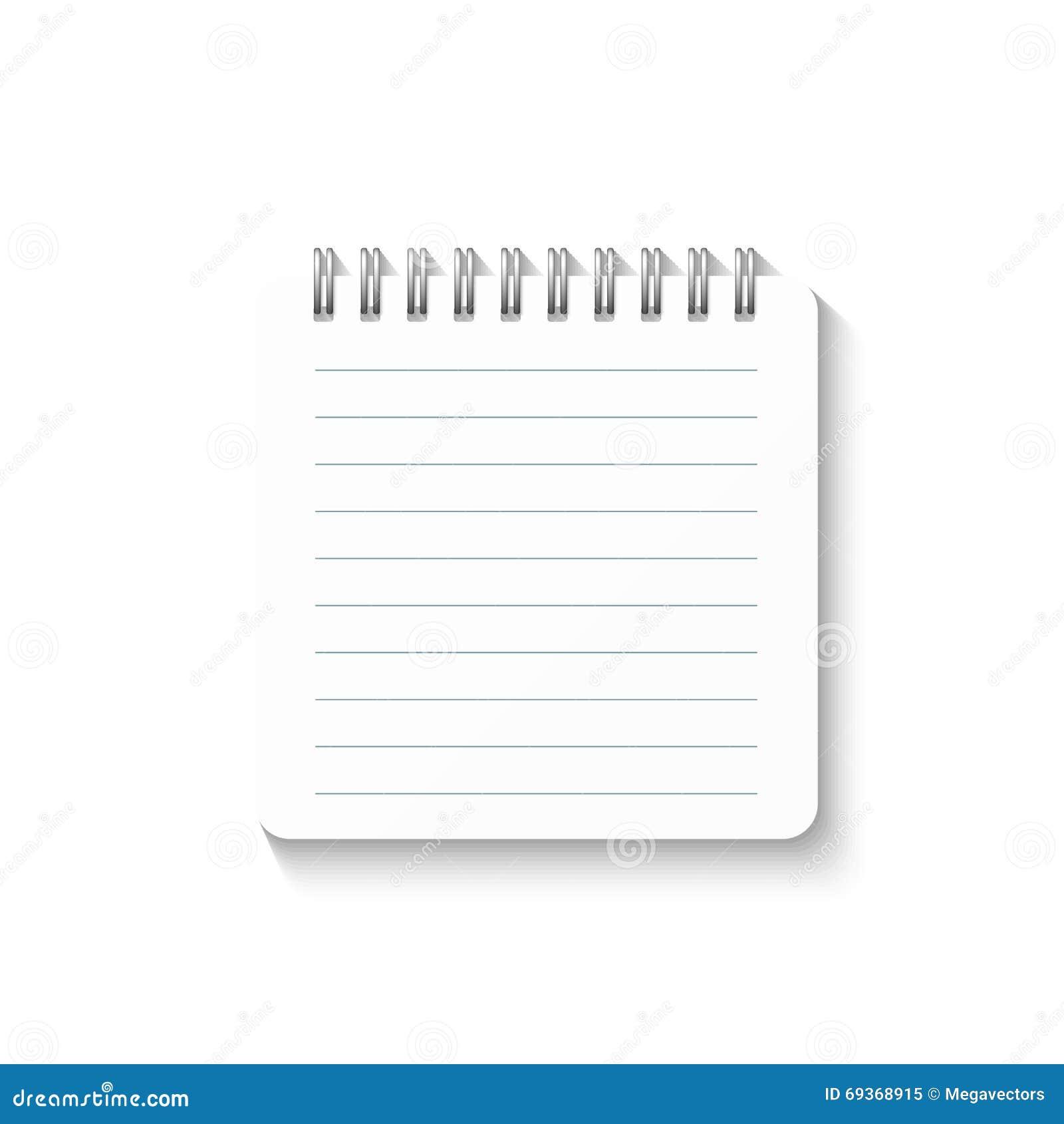 Шаблон при спиральная тетрадь изолированная на белой предпосылке Дневник школы