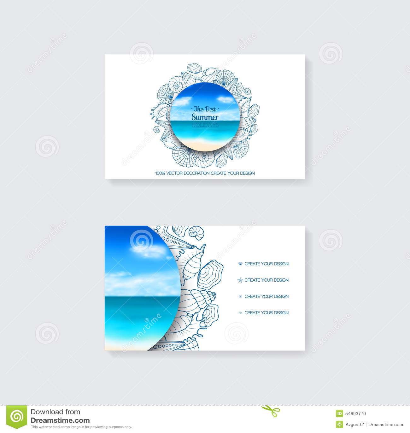 Шаблон простой визитной карточки с декоративными орнаментом, морскими звёздами и seashells
