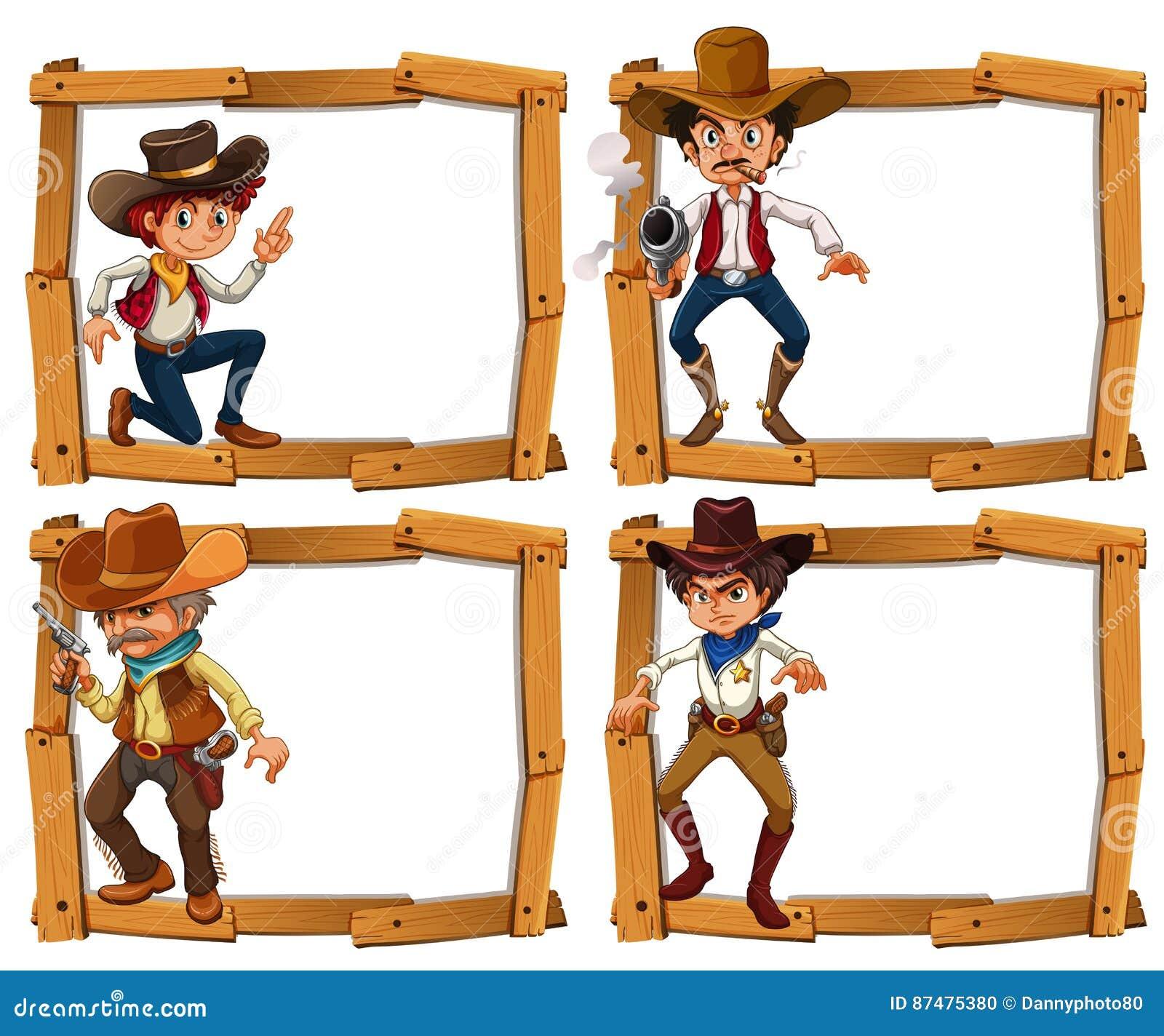 Шаблон рамки с ковбоями
