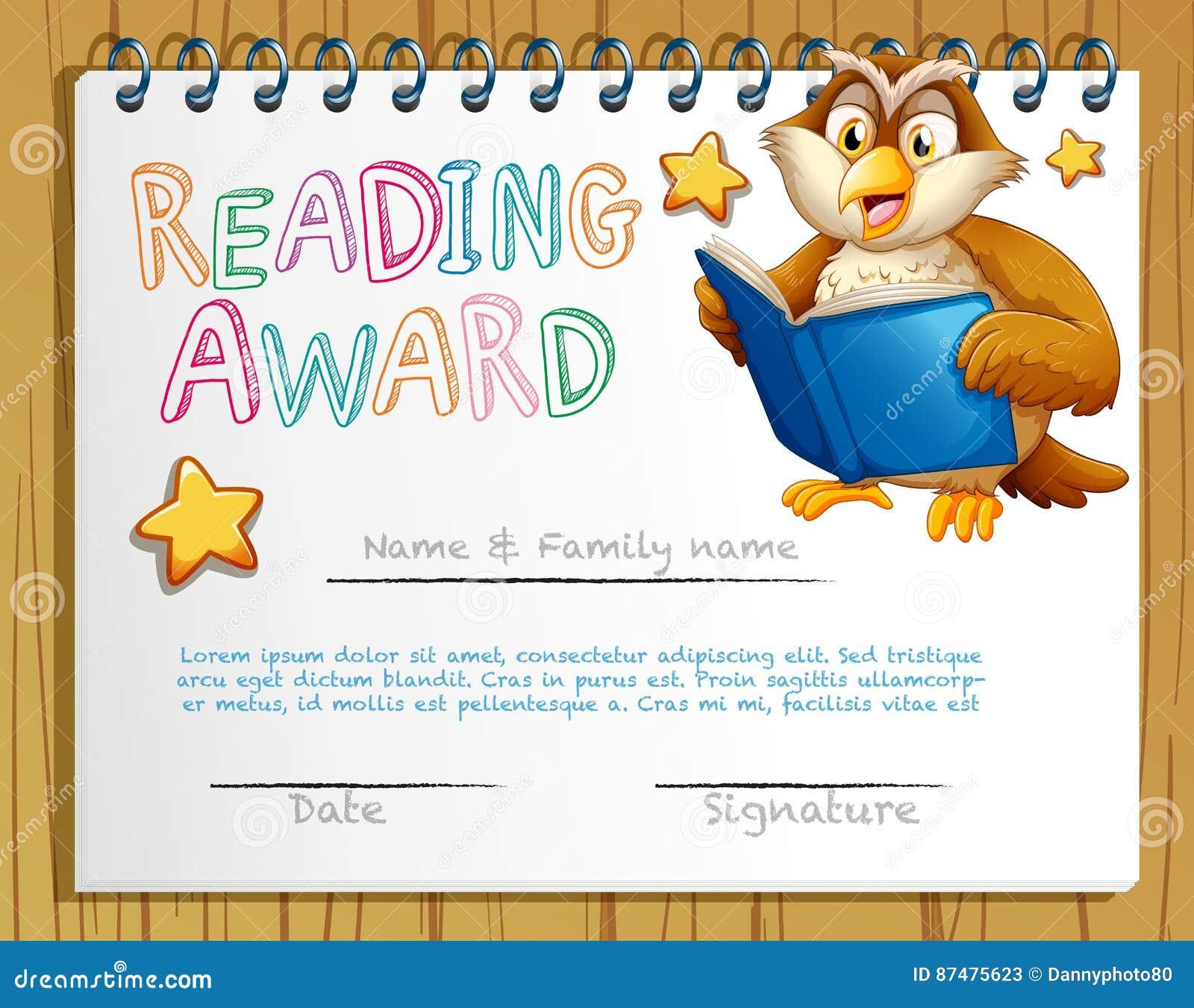 Шаблон сертификата с книгой чтения сыча
