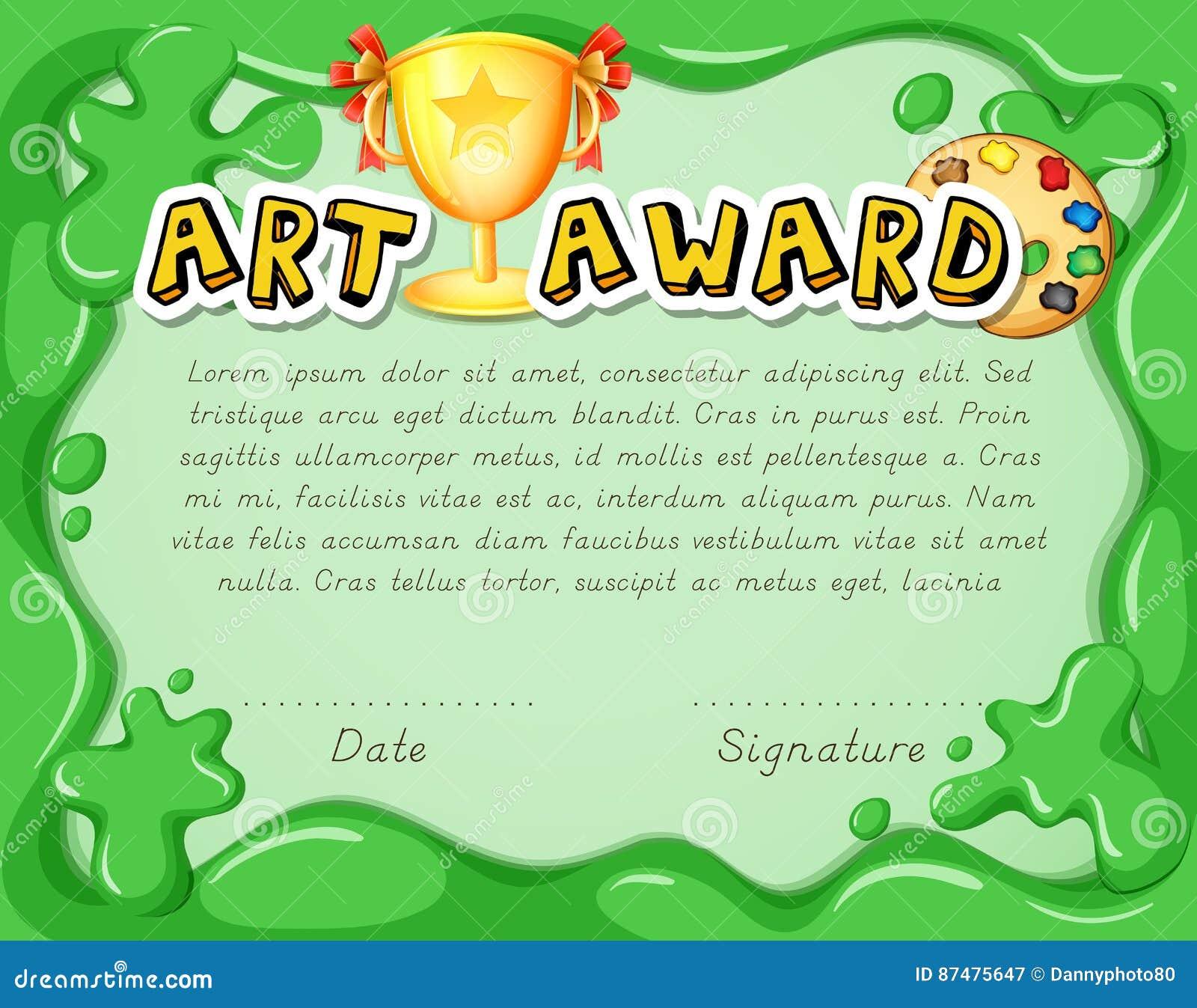 Шаблон сертификата с трофеем на зеленой предпосылке