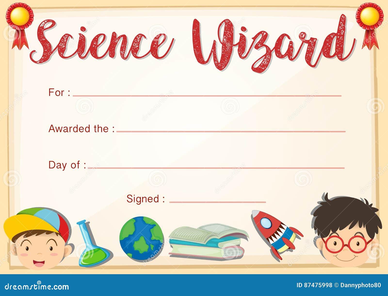 Шаблон сертификата для волшебника науки