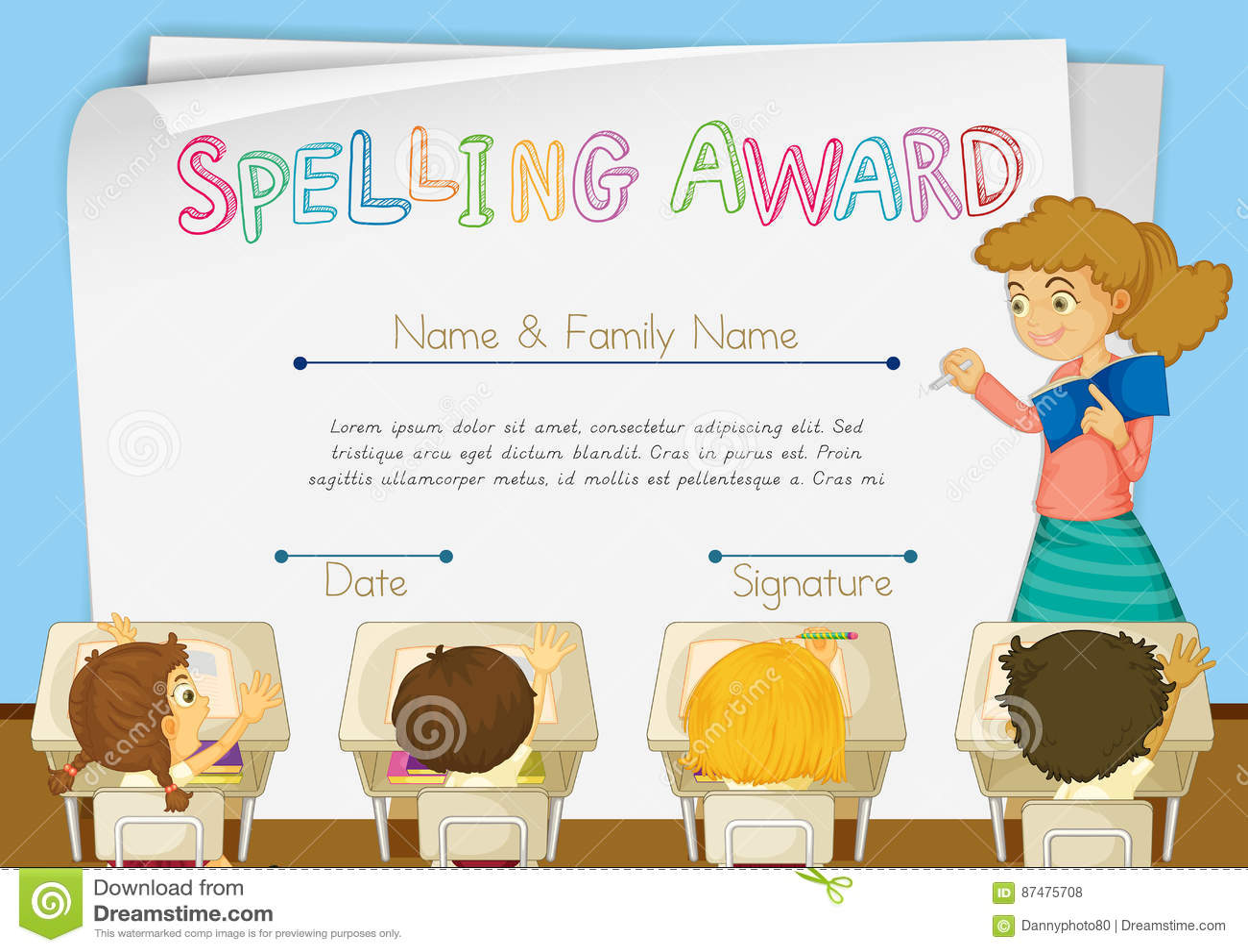 Шаблон сертификата для говорить награду по буквам