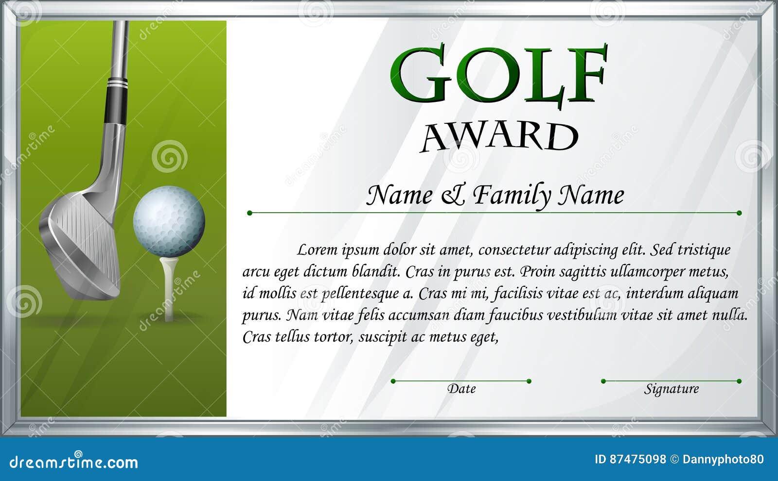 Шаблон сертификата для награды гольфа