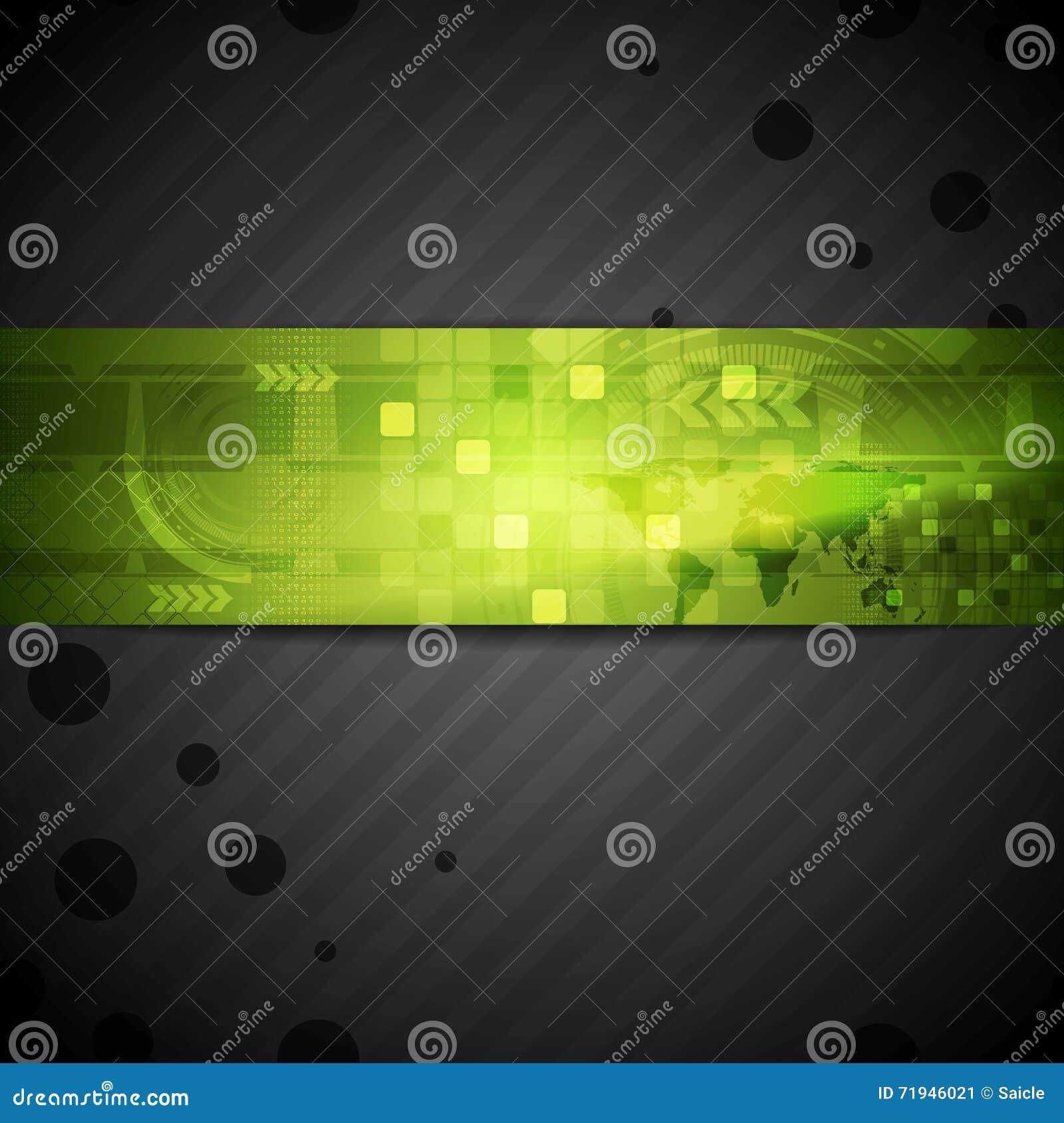 Шаблон техника брошюры с зеленым элементом знамени