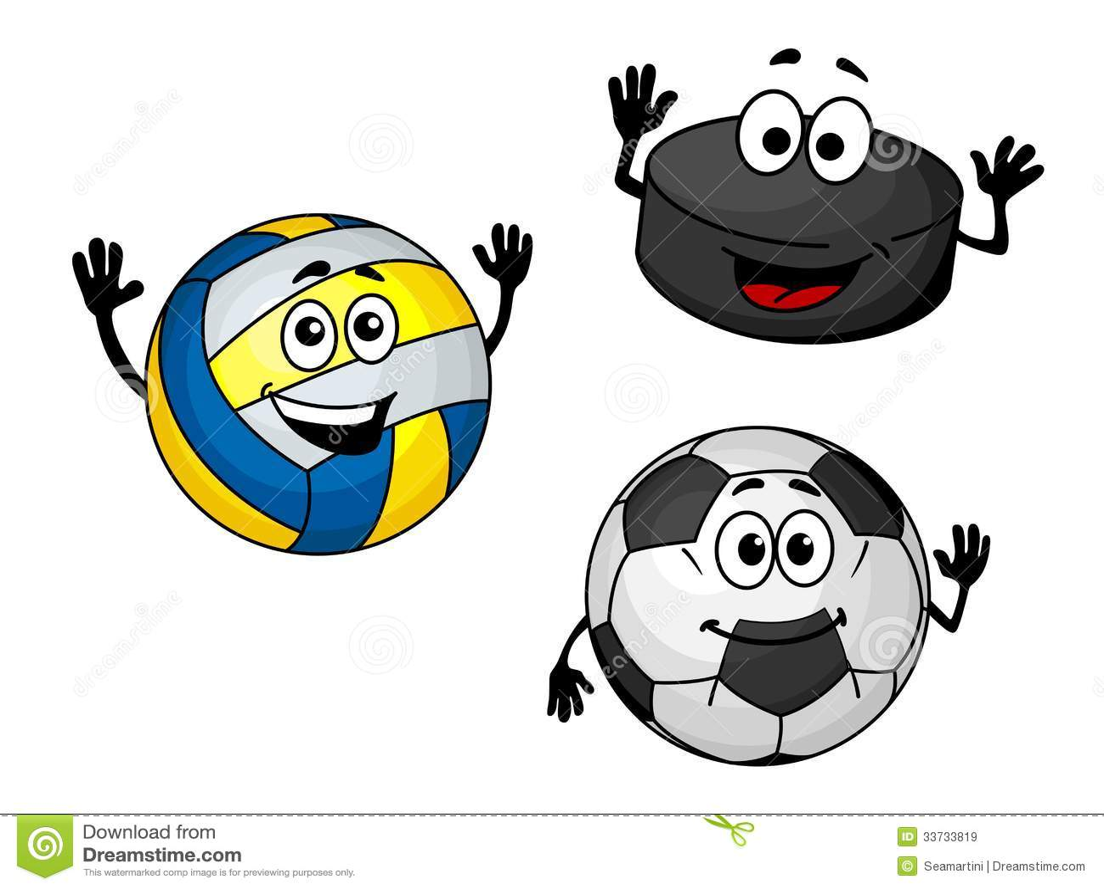 Шайба, волейбол и футбольные мячи хоккея