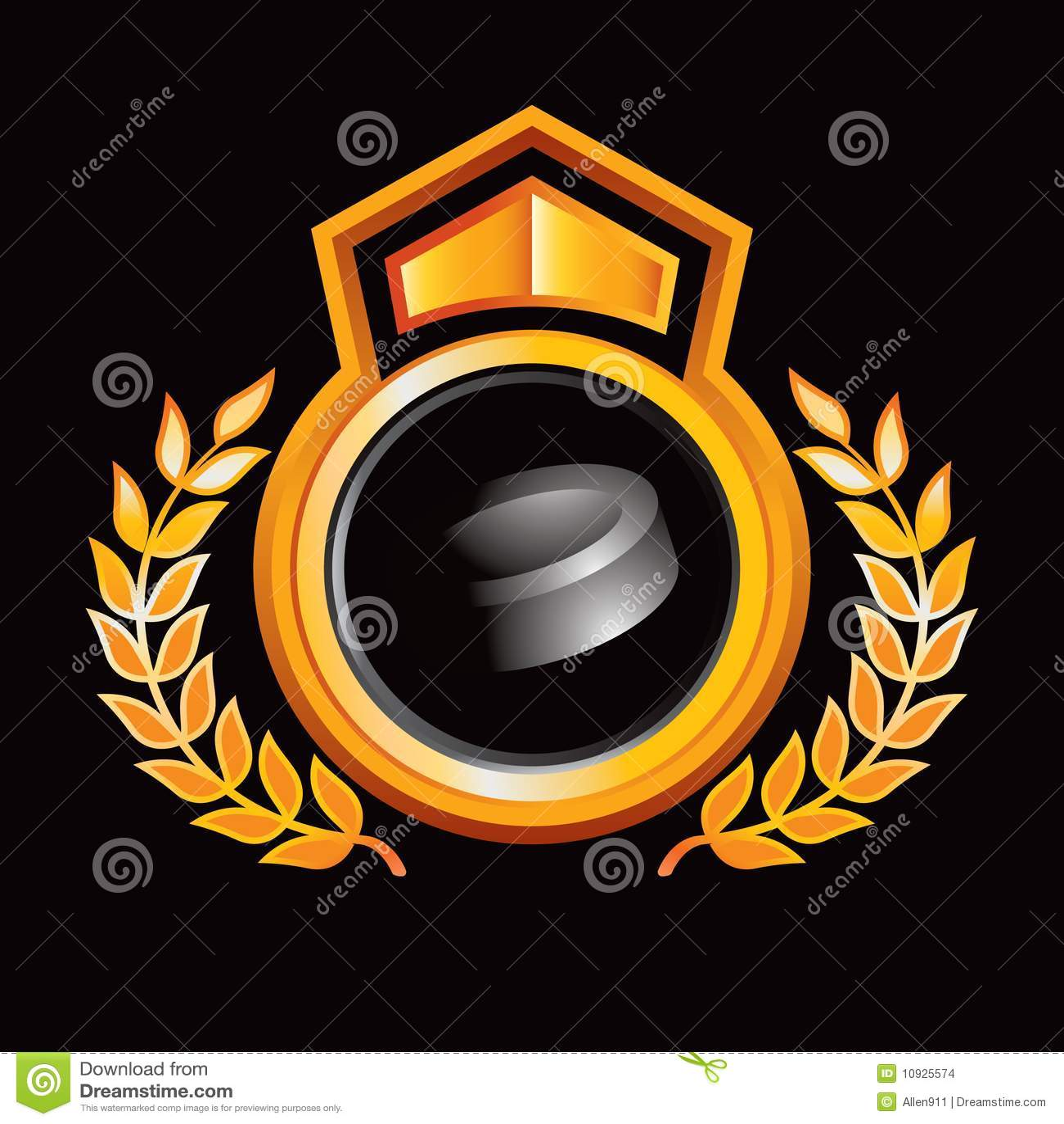 шайба хоккея золота гребеня королевская