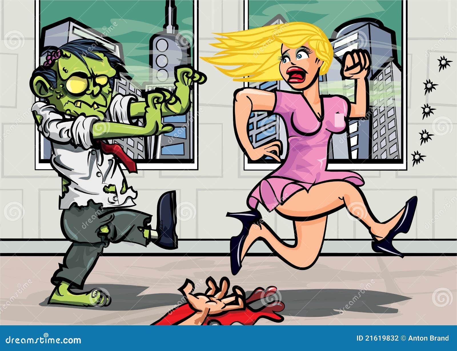 шарж гоня зомби работника офиса девушки