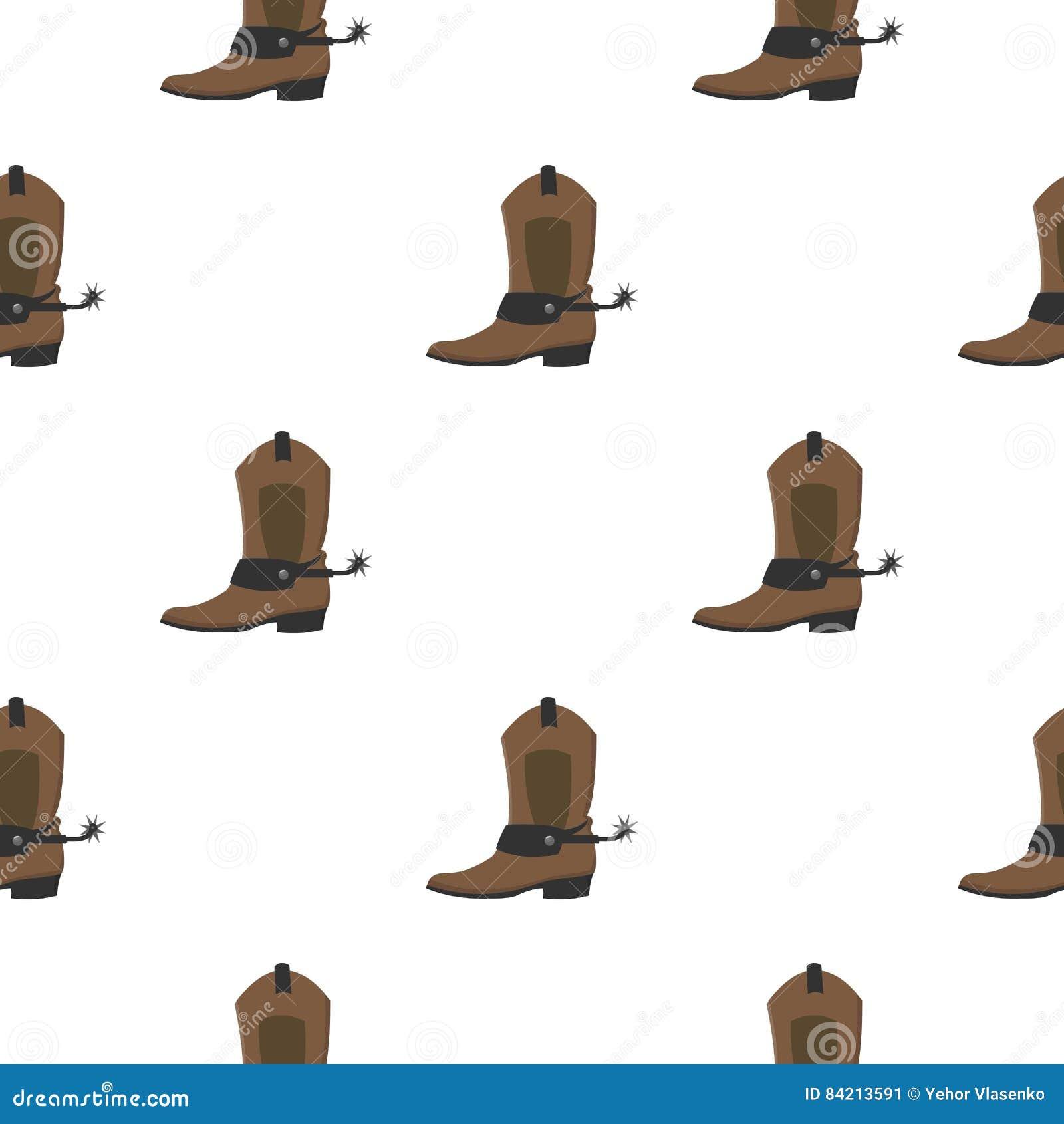 Шарж значка ботинка ковбоя Значок Singe западный от шаржа Диких Западов