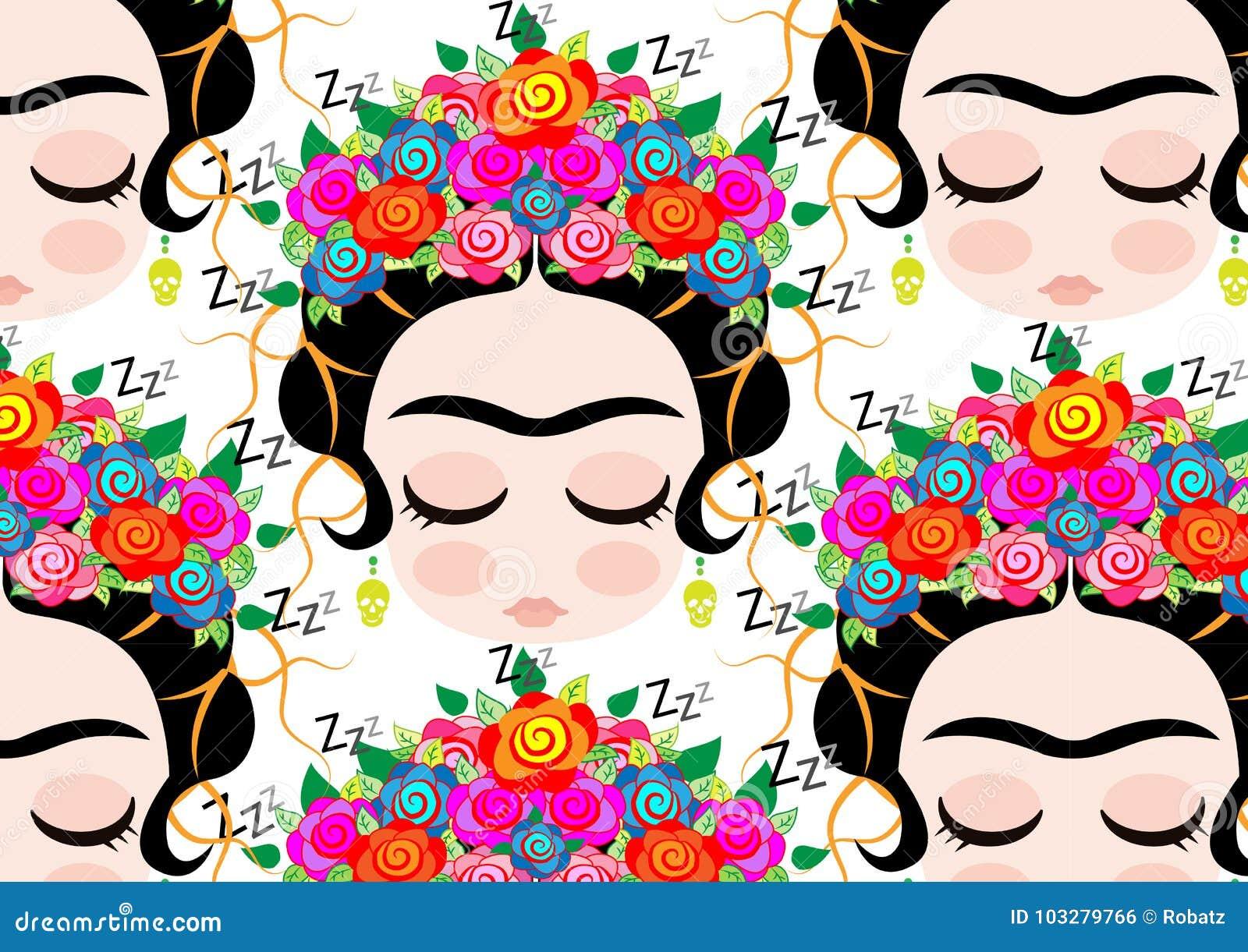 Frida Kahlo Kawaii Para Colorear: Шарж картины Frida Kahlo иллюстрация вектора. иллюстрации