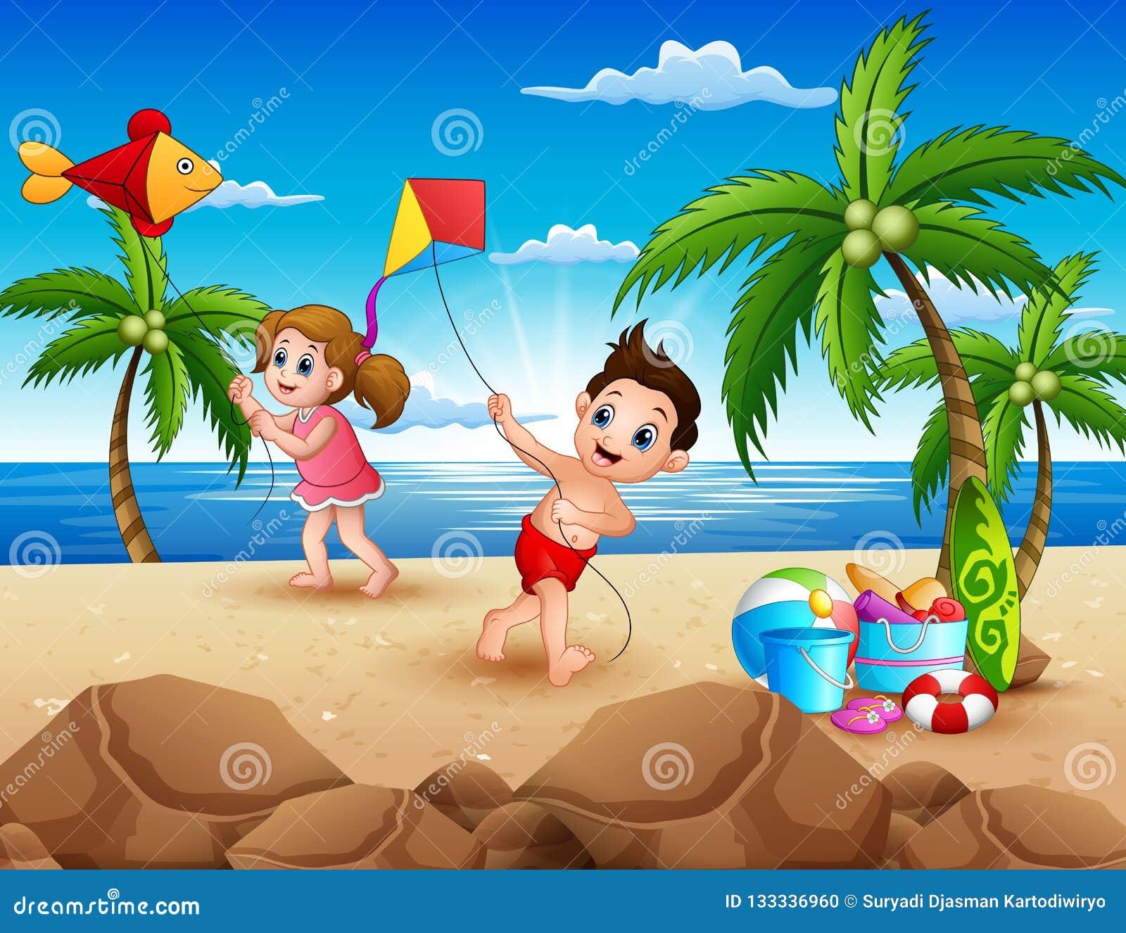 Шарж маленьких детей играя с змеями на пляже