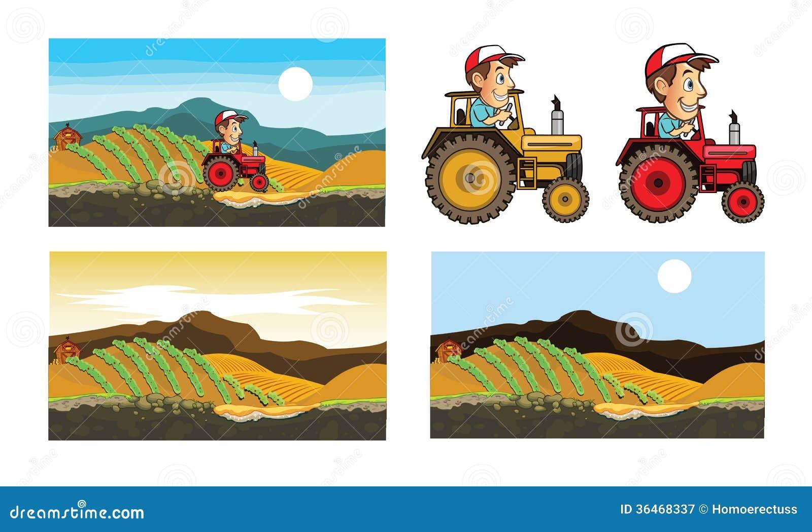 Шарж трактора и фермера