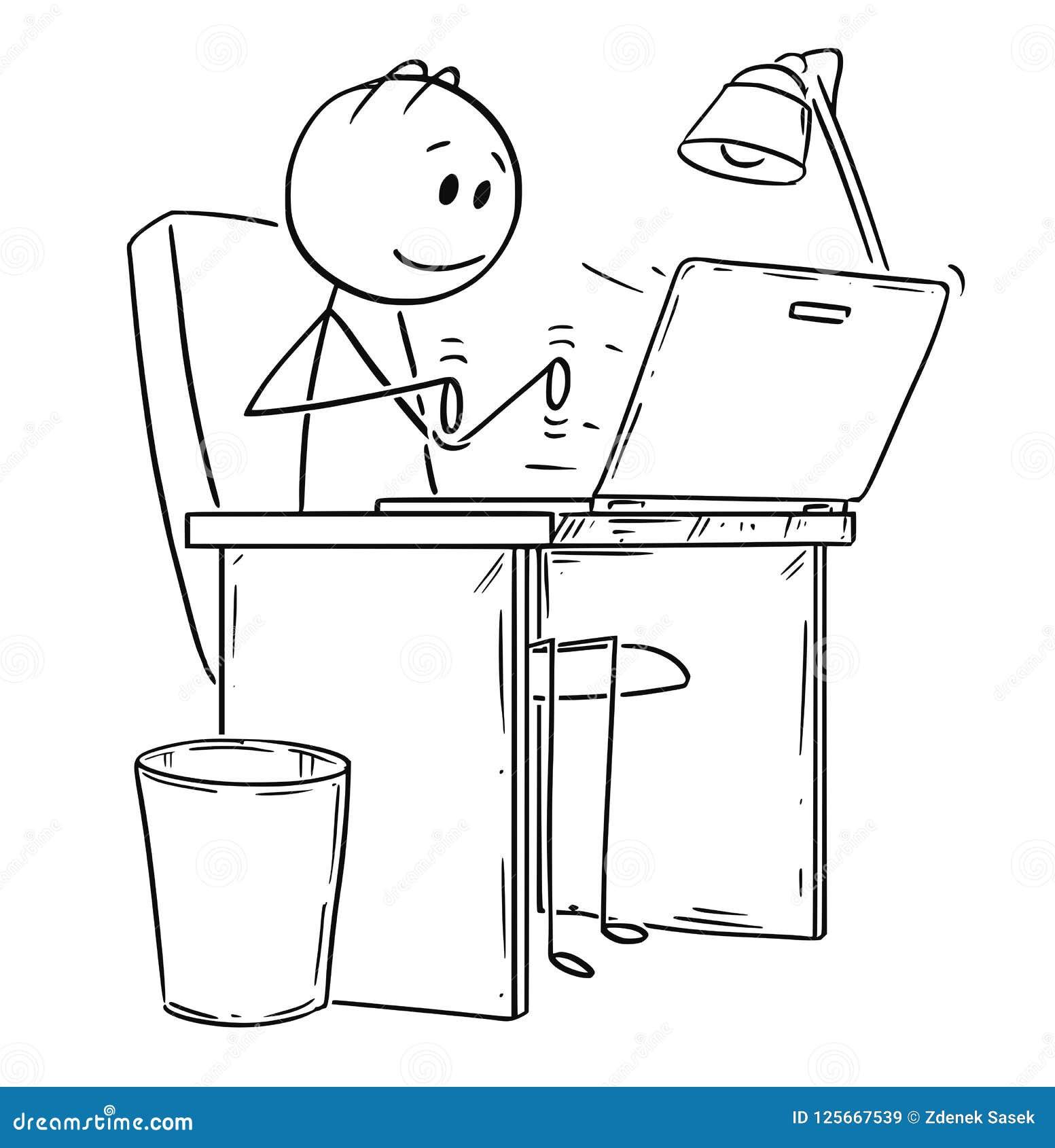 Шарж усмехаясь человека или бизнесмена работая или печатая на компьтер-книжке или компьютер-книжке