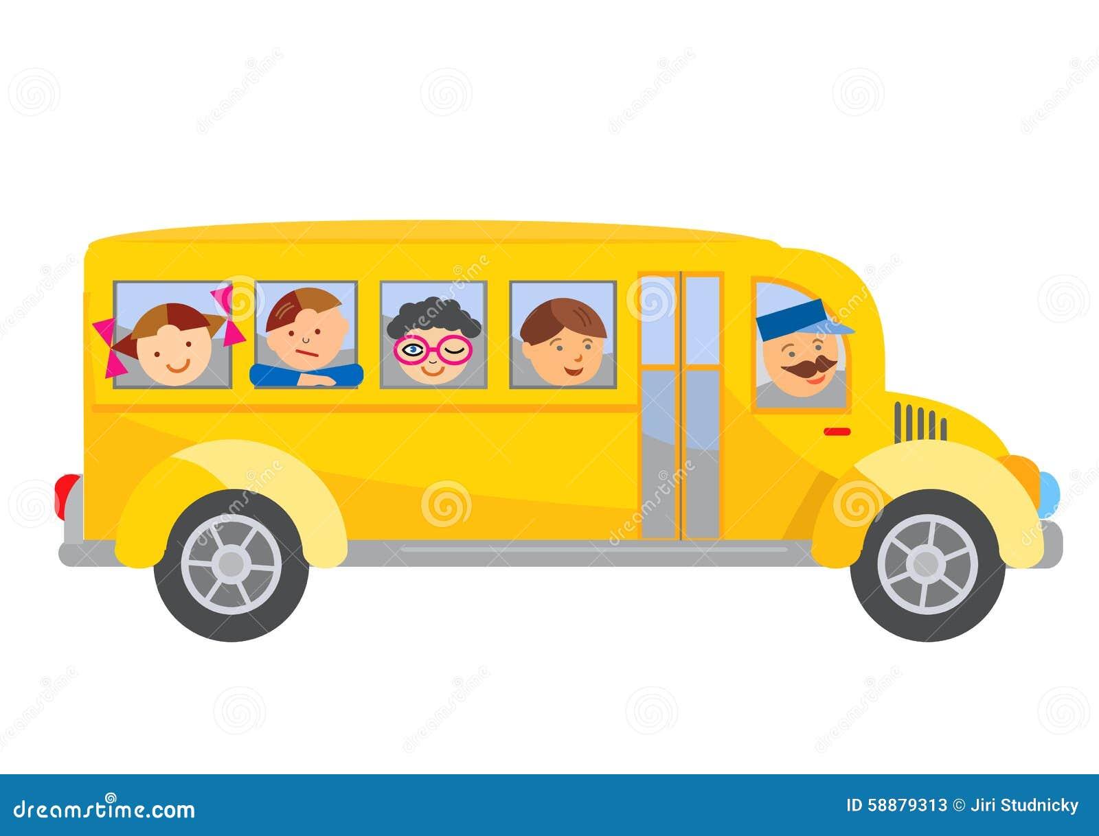 Шарж школьного автобуса