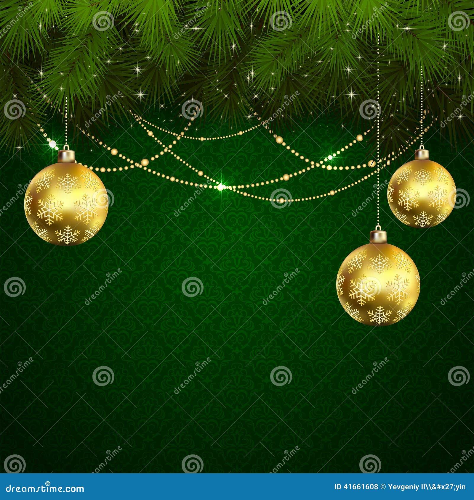 Шарики рождества на зеленых обоях